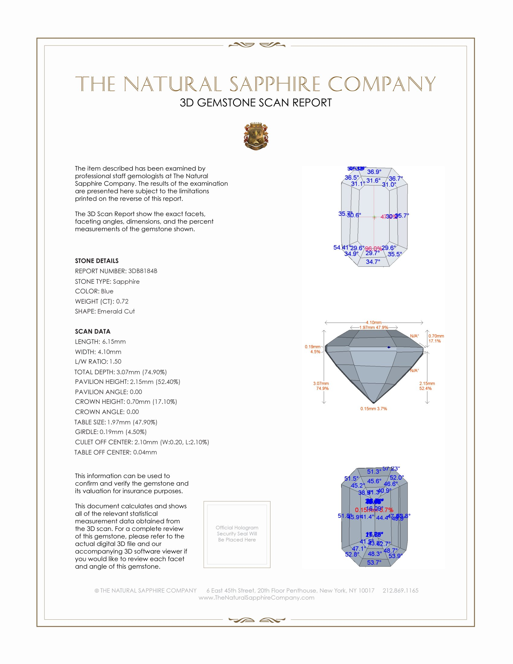 Natural Untreated Blue Sapphire B8184 Certification 2