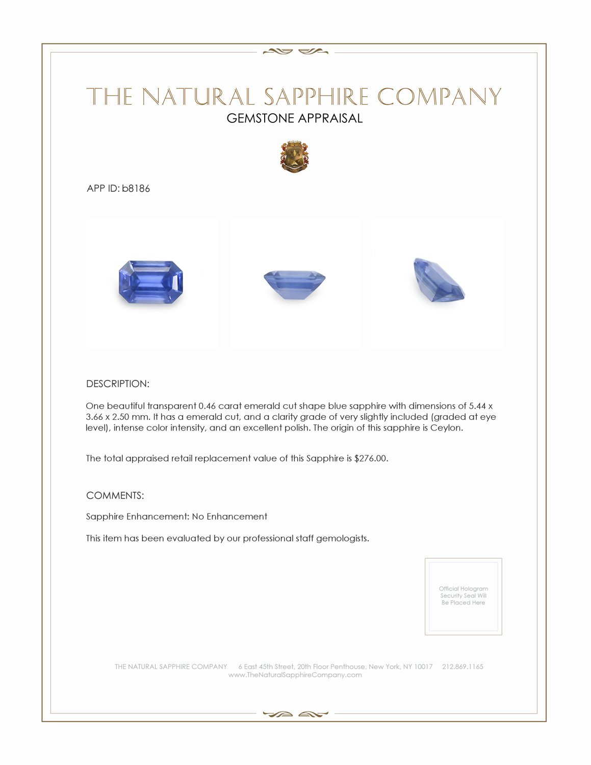 Natural Untreated Blue Sapphire B8186 Certification 3