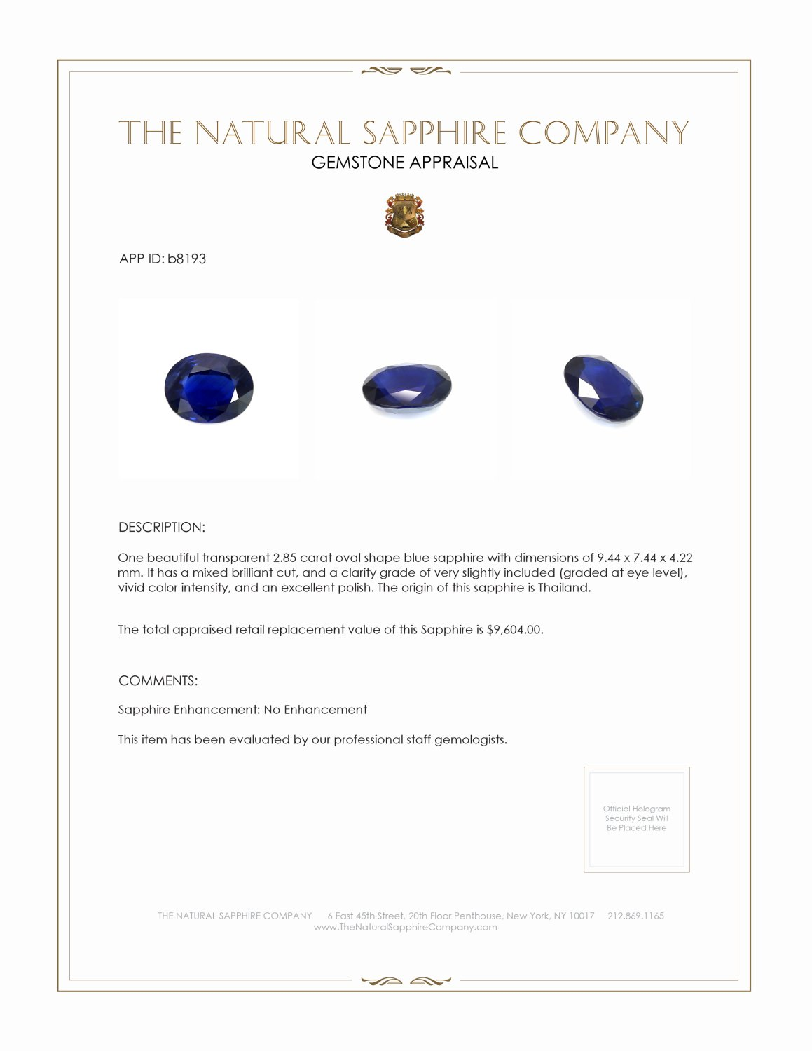 Natural Untreated Blue Sapphire B8193 Certification 3