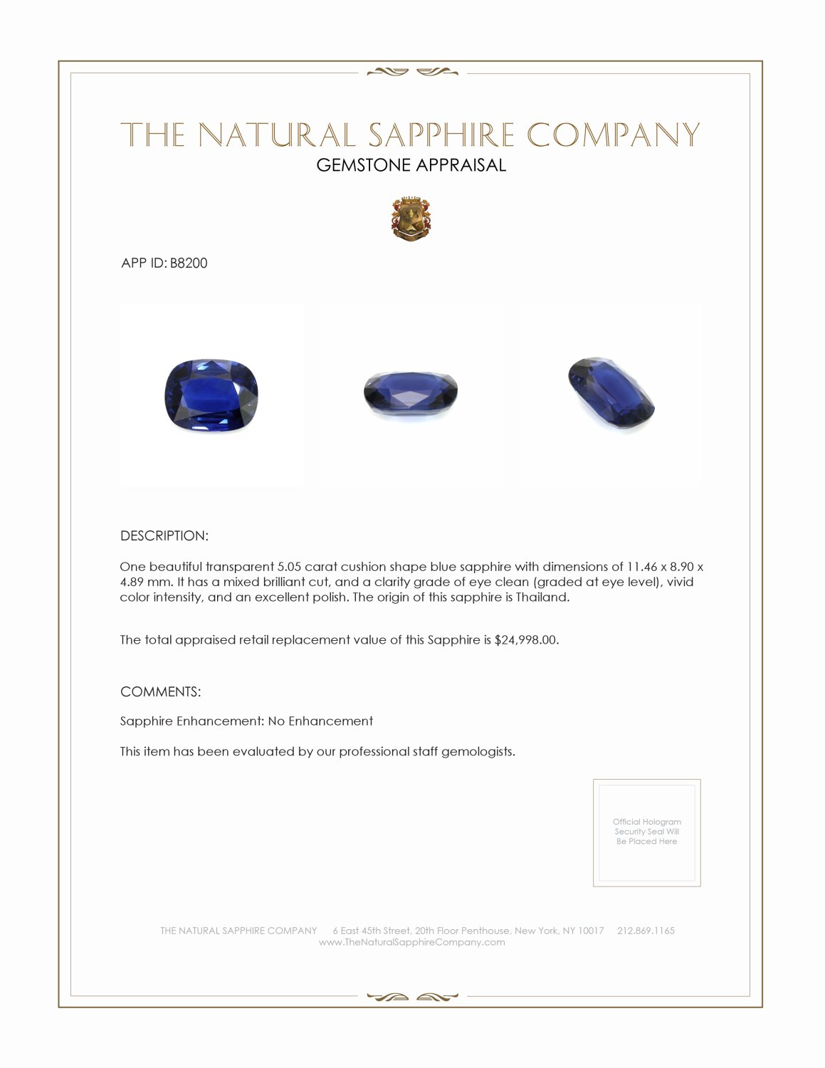 Natural Untreated Blue Sapphire B8200 Certification
