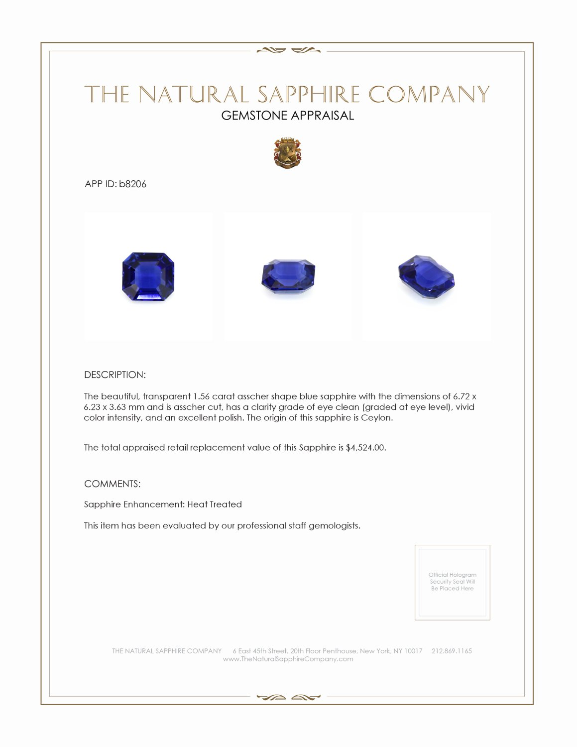 Natural Blue Sapphire B8206 Certification 3