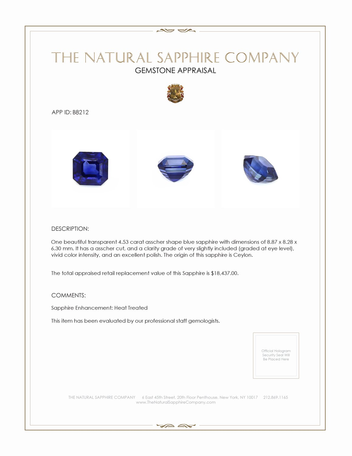 Natural Blue Sapphire B8212 Certification 3