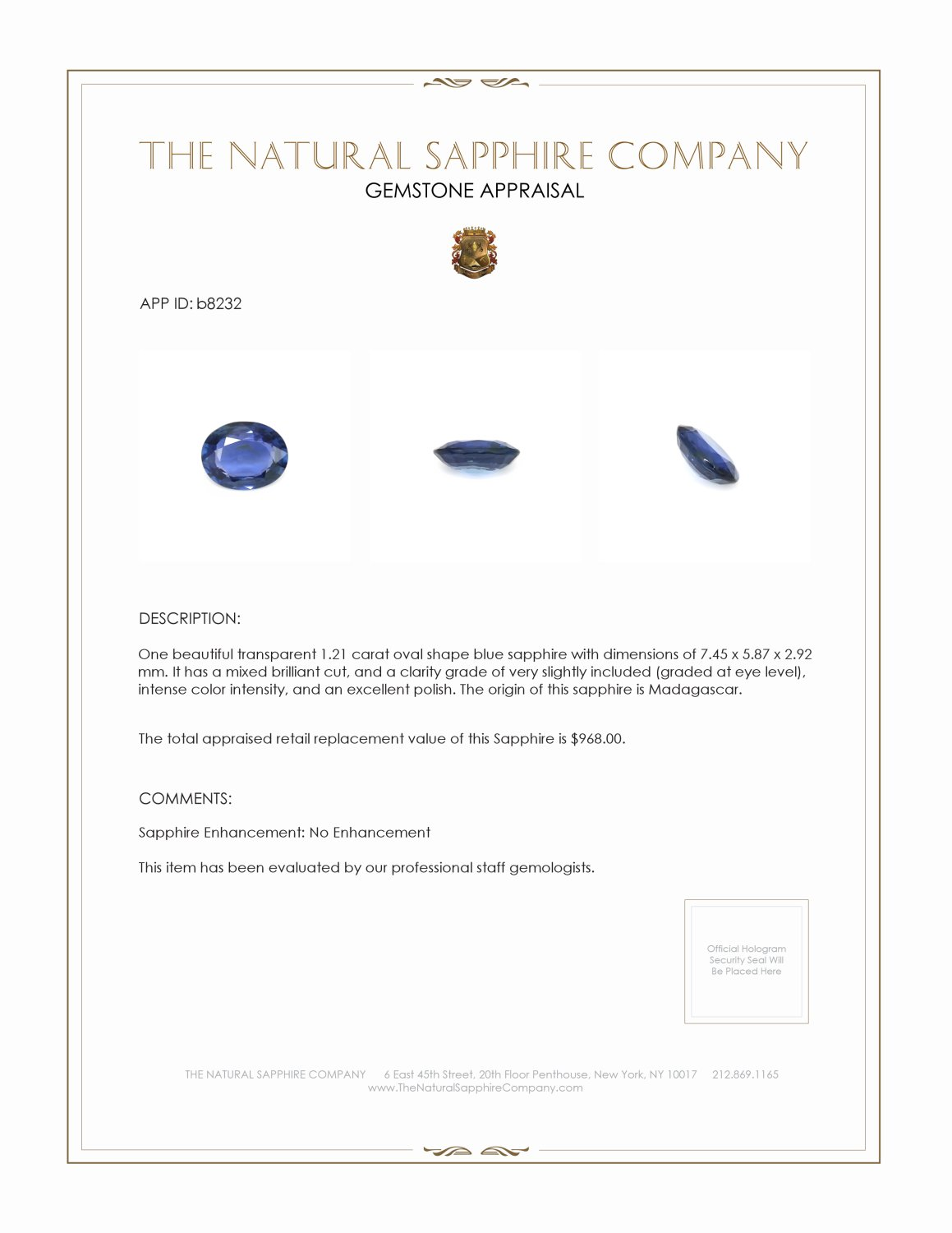Natural Untreated Blue Sapphire B8232 Certification 3