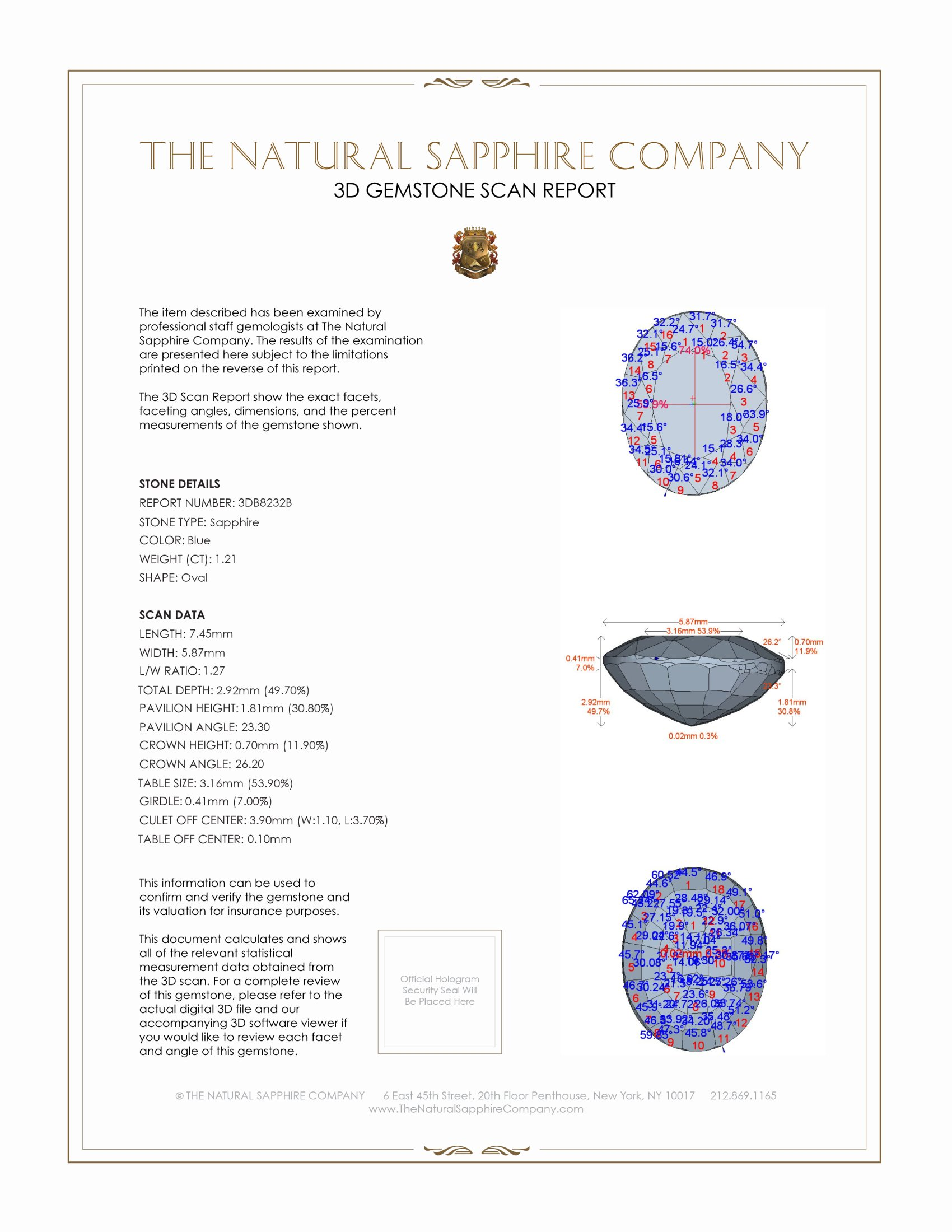 Natural Untreated Blue Sapphire B8232 Certification 2