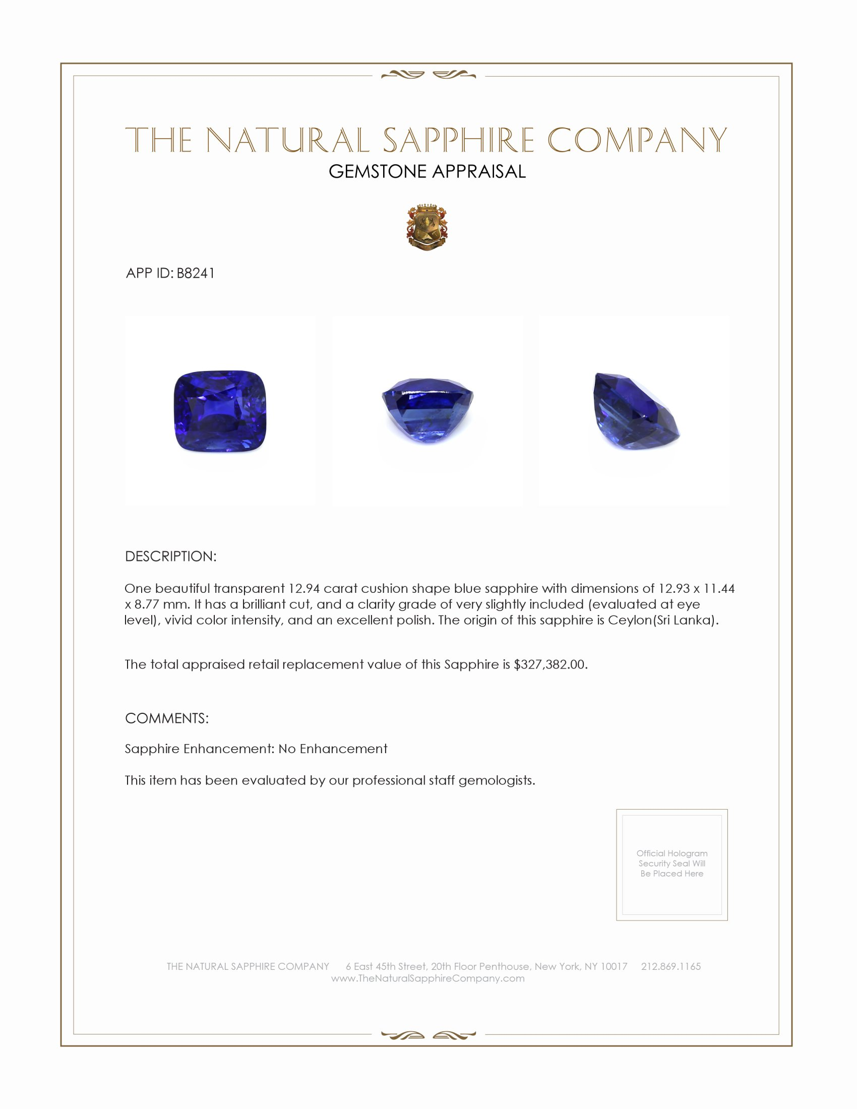 Natural Untreated Blue Sapphire B8241 Certification 4