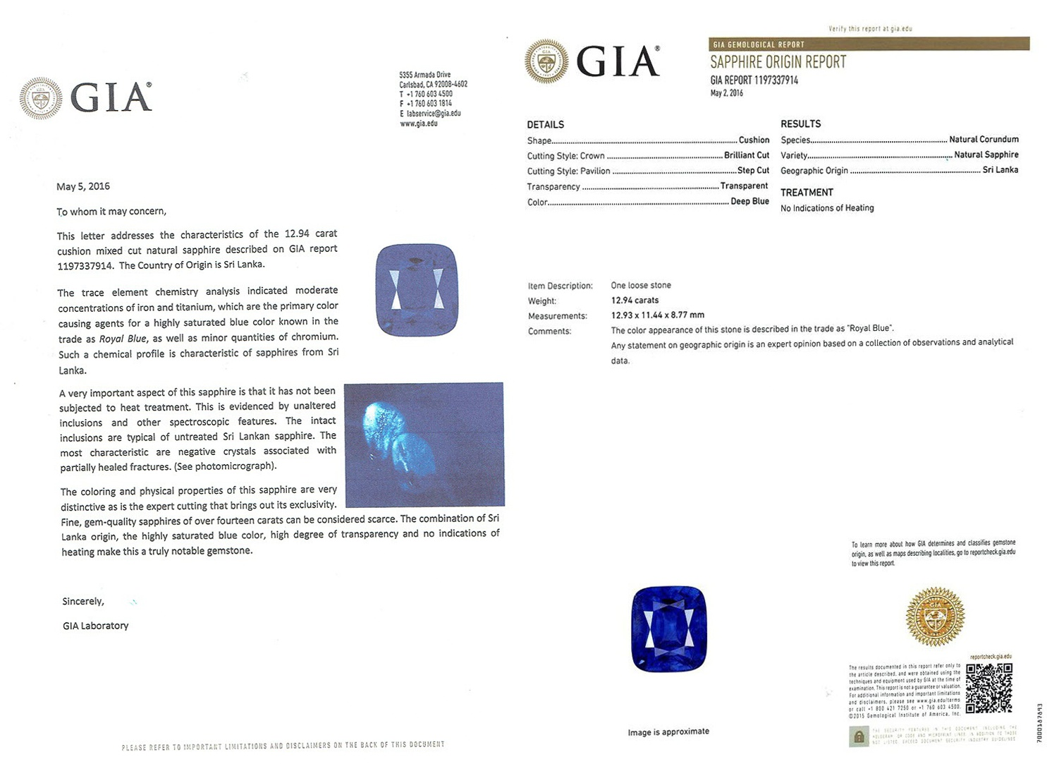 Natural Untreated Blue Sapphire B8241 Certification 3