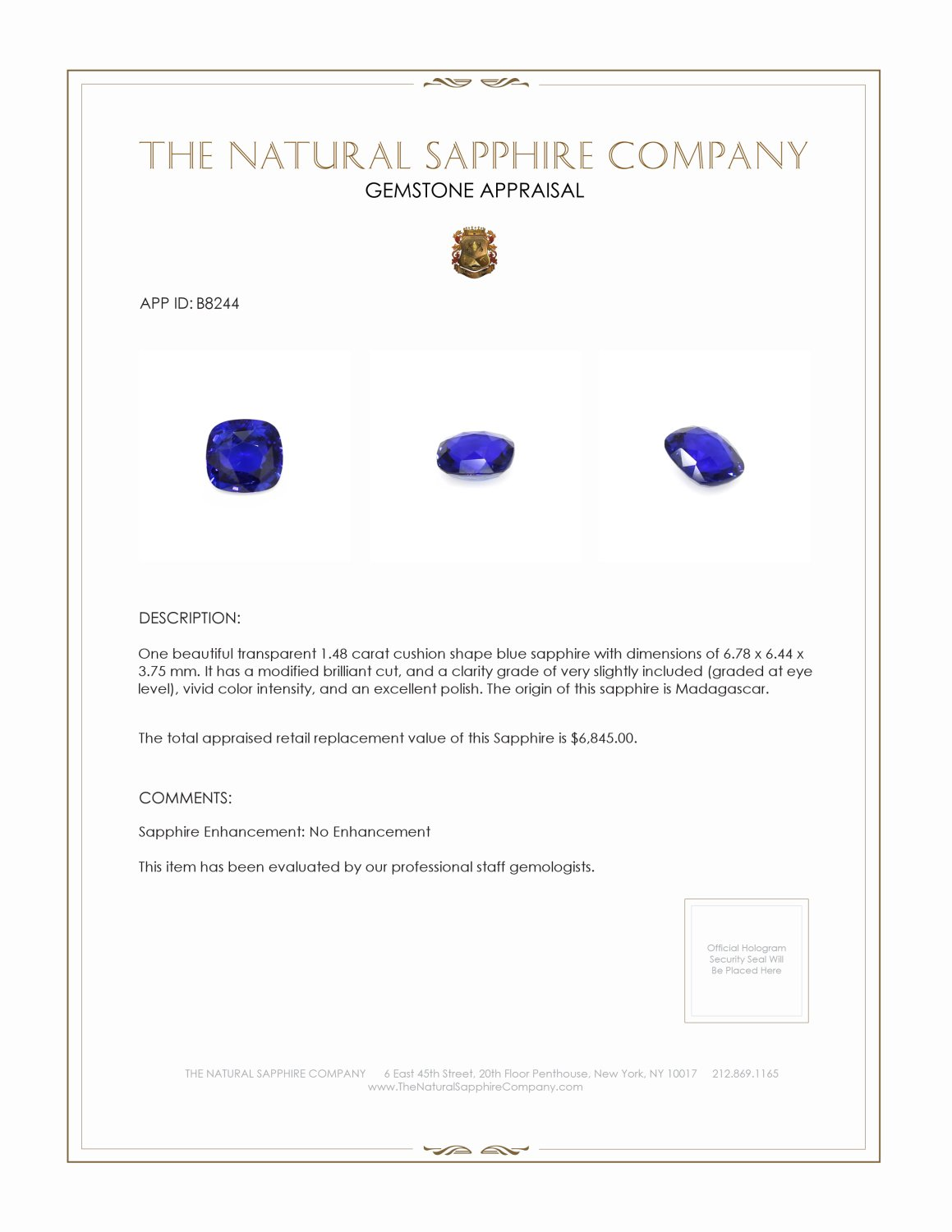 Natural Untreated Blue Sapphire B8244 Certification