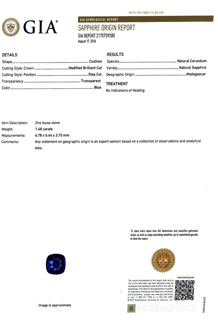 Natural Untreated Blue Sapphire B8244 Certification 3