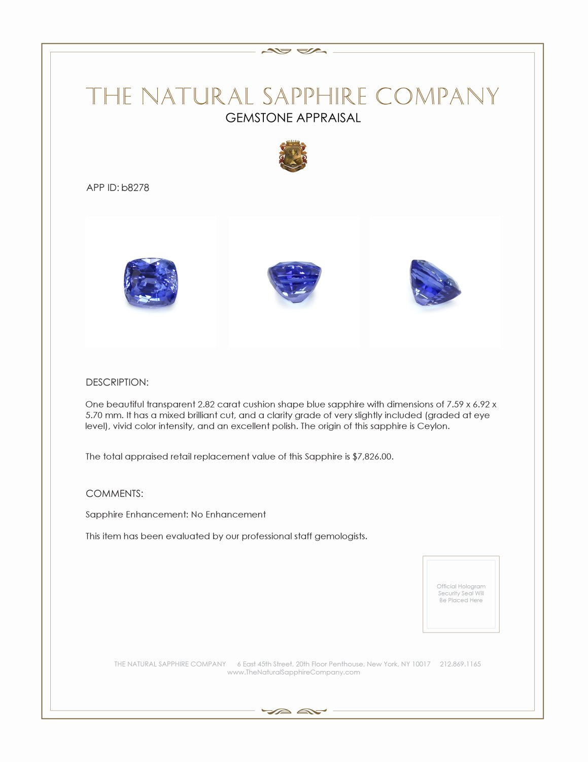 Natural Untreated Blue Sapphire B8278 Certification 3