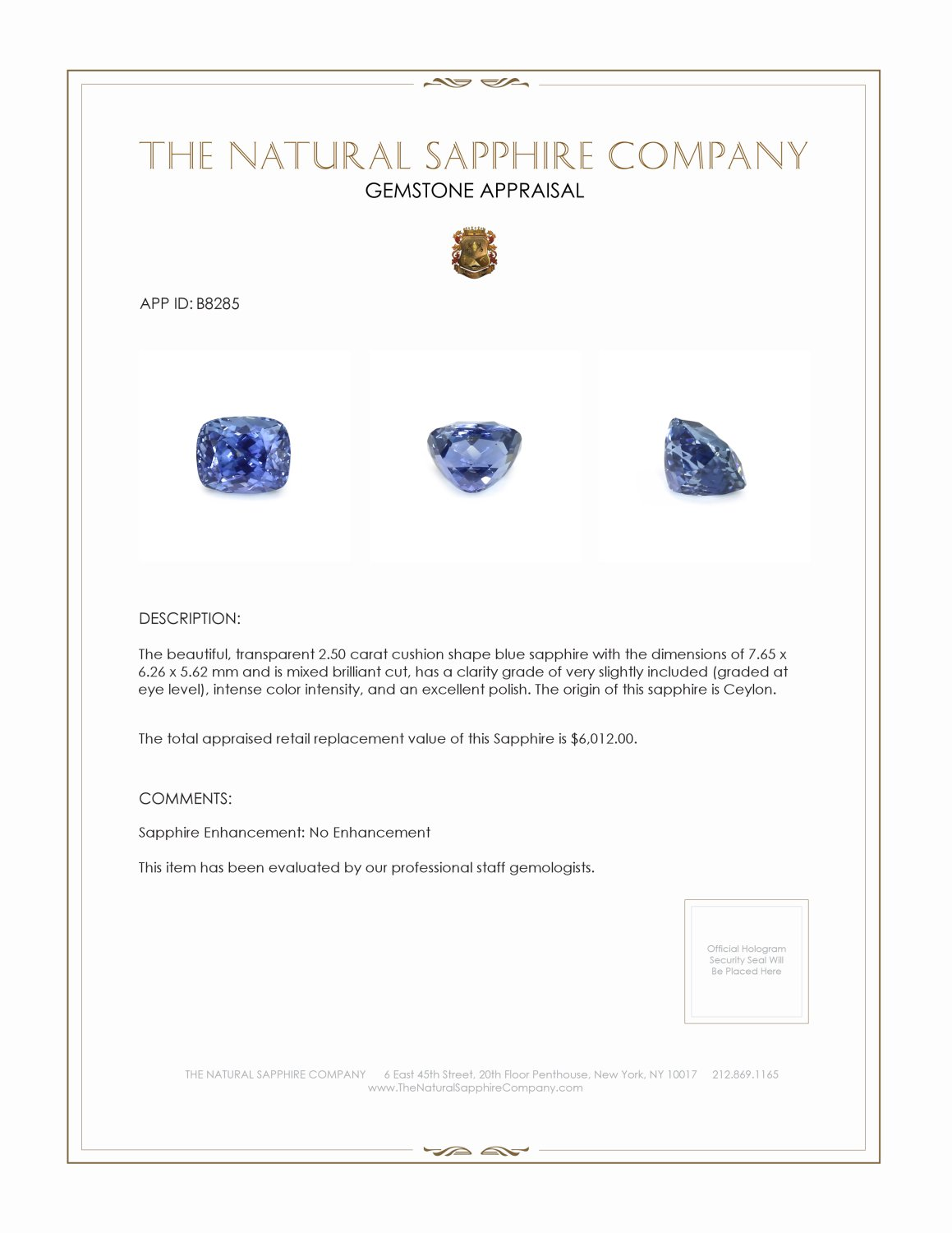 Natural Untreated Blue Sapphire B8285 Certification 3