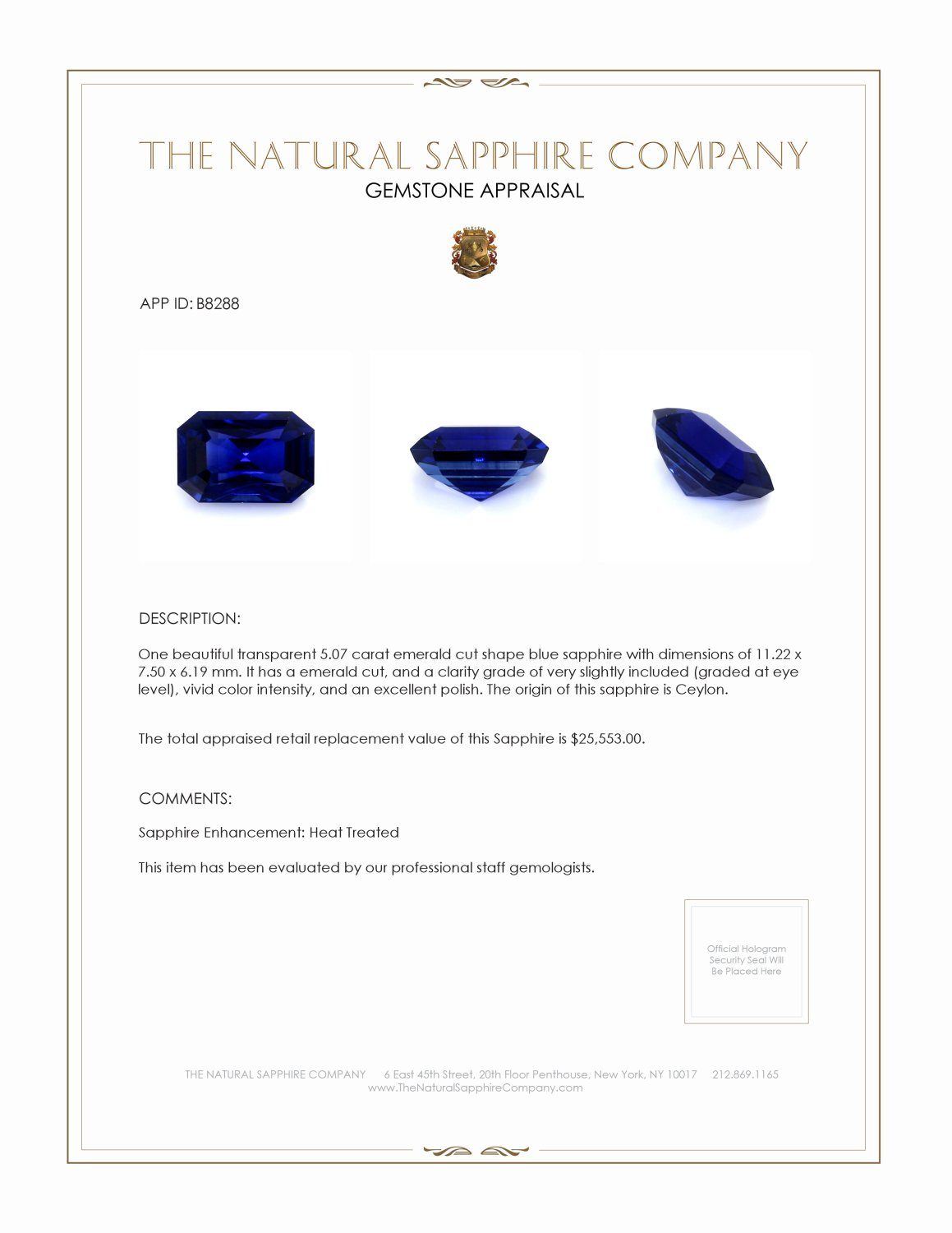 Natural Blue Sapphire B8288 Certification 4
