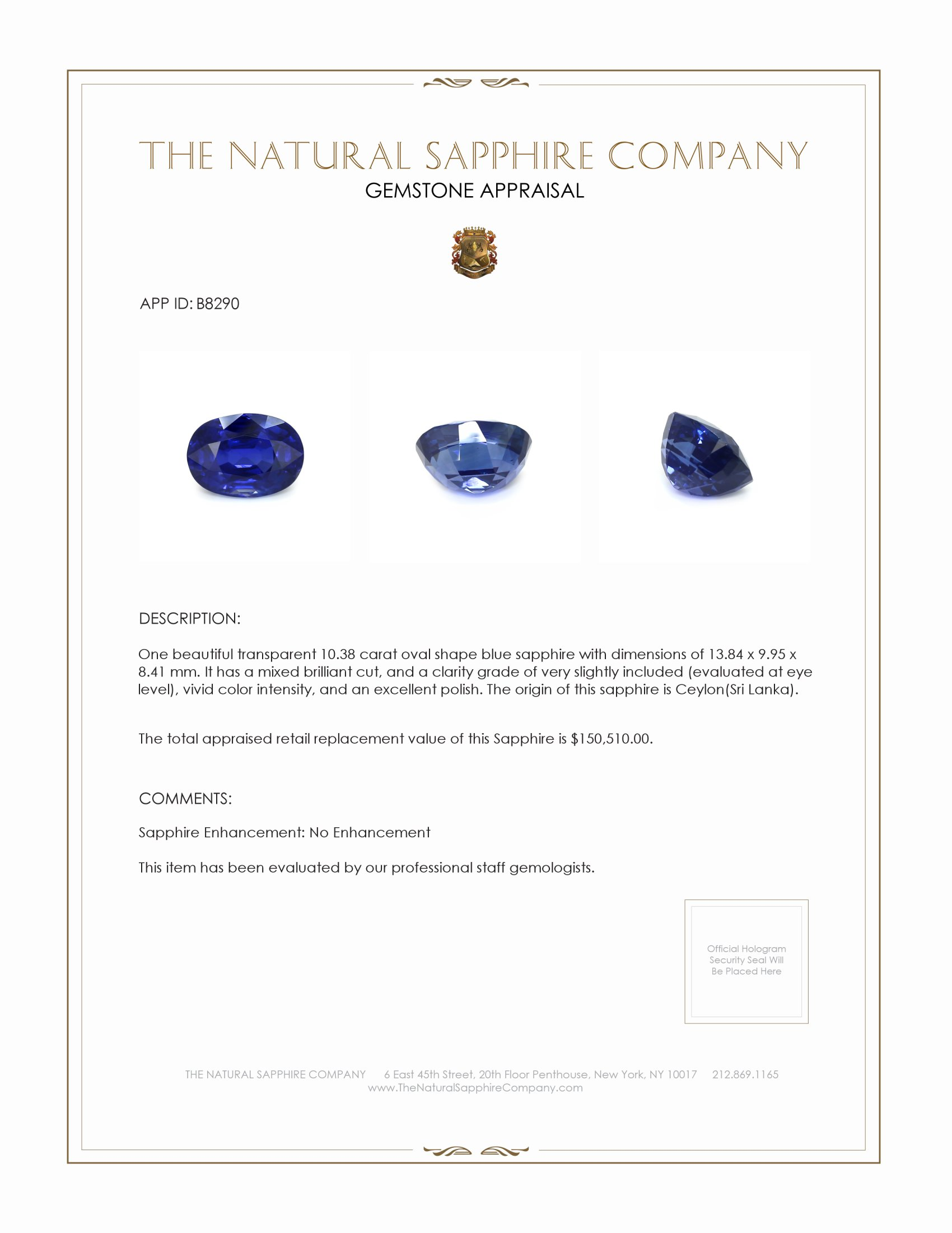 Natural Untreated Blue Sapphire B8290 Certification 3