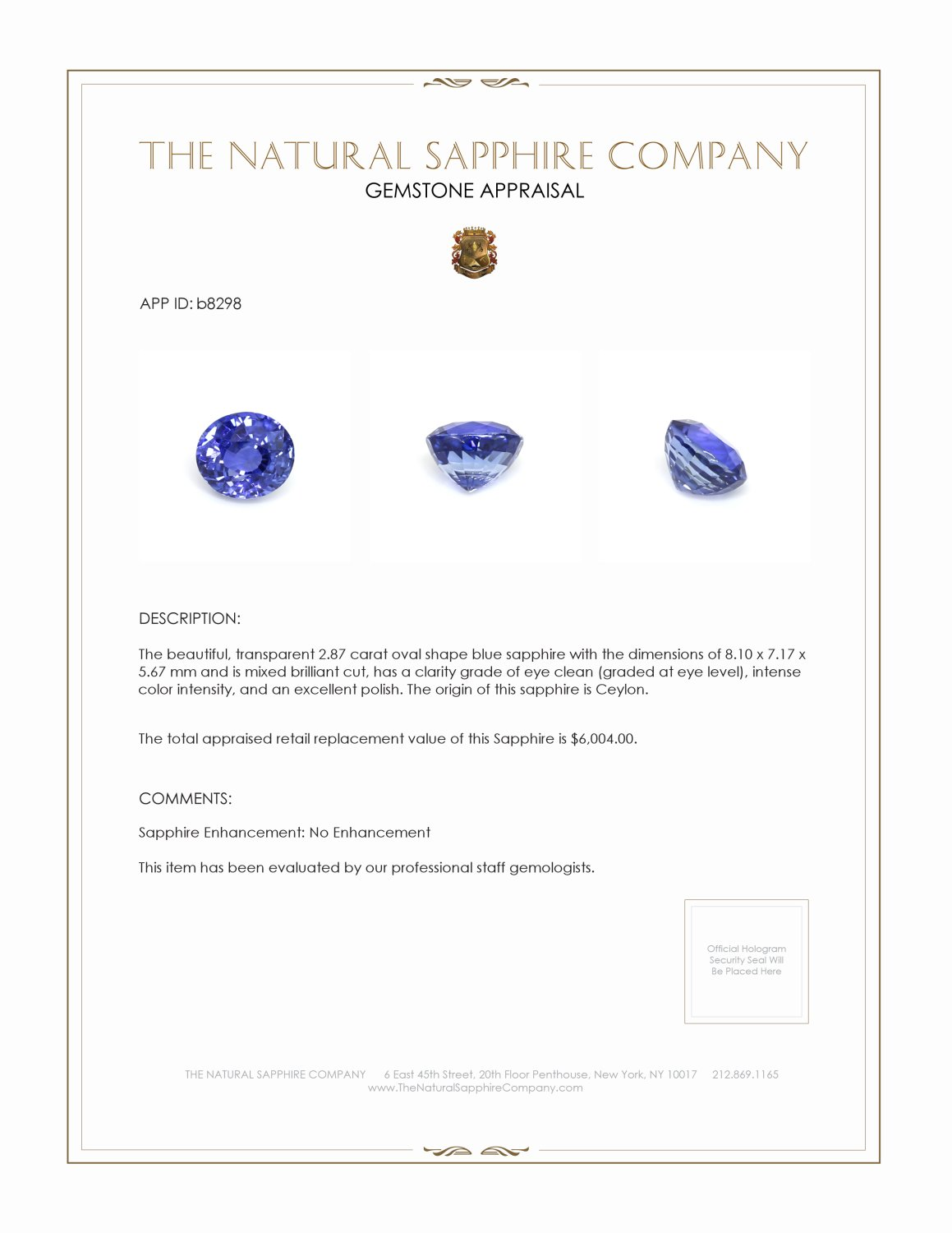 Natural Untreated Blue Sapphire B8298 Certification 3