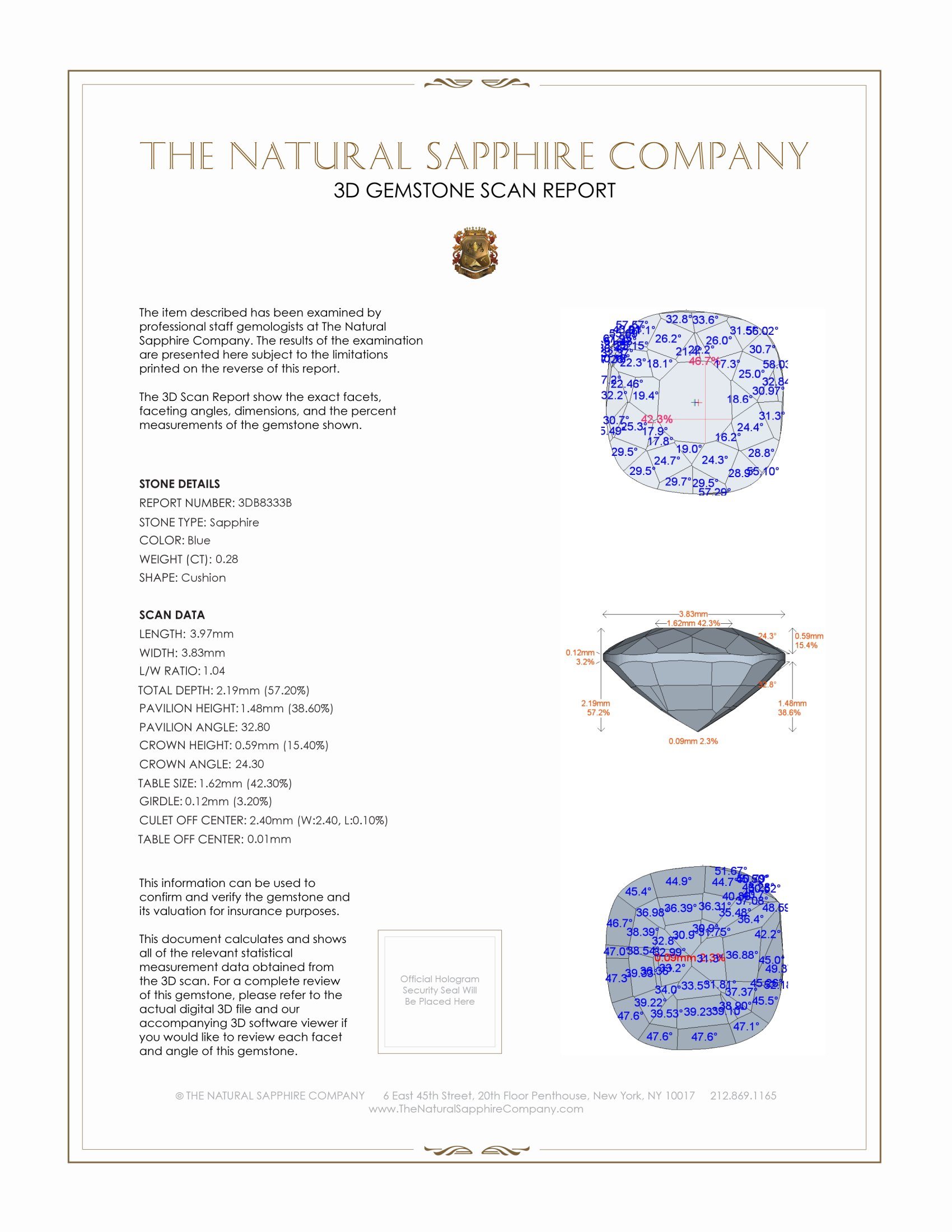 Natural Untreated Blue Sapphire B8333 Certification 2