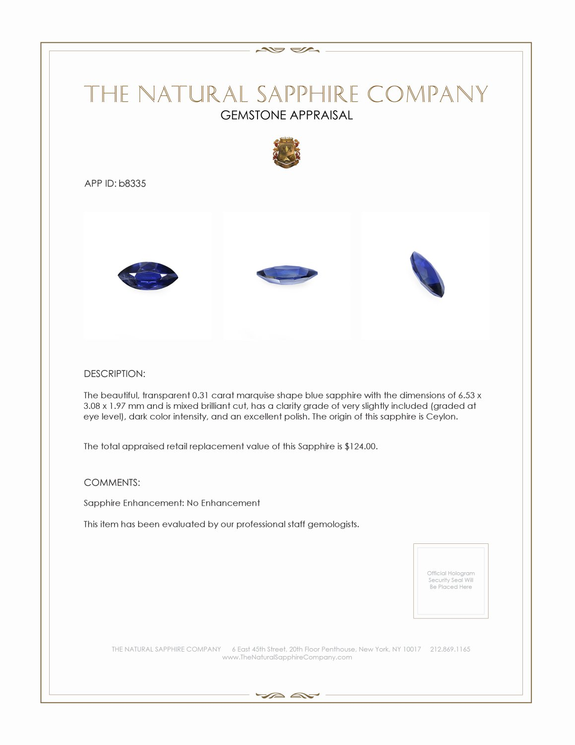 Natural Untreated Blue Sapphire B8335 Certification 3