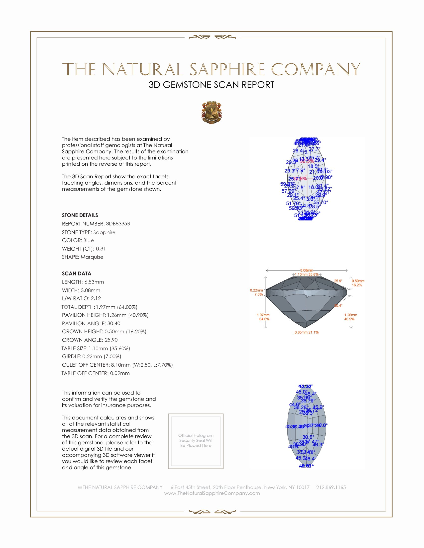 Natural Untreated Blue Sapphire B8335 Certification 2