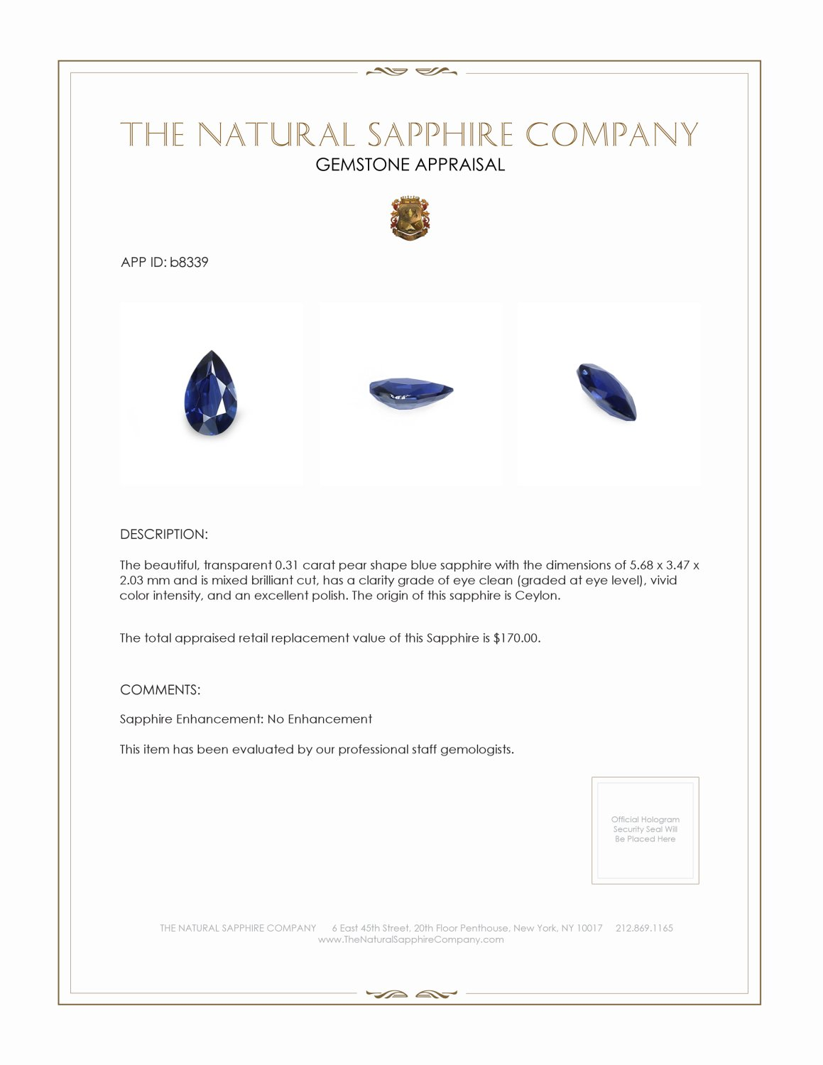 Natural Untreated Blue Sapphire B8339 Certification 3