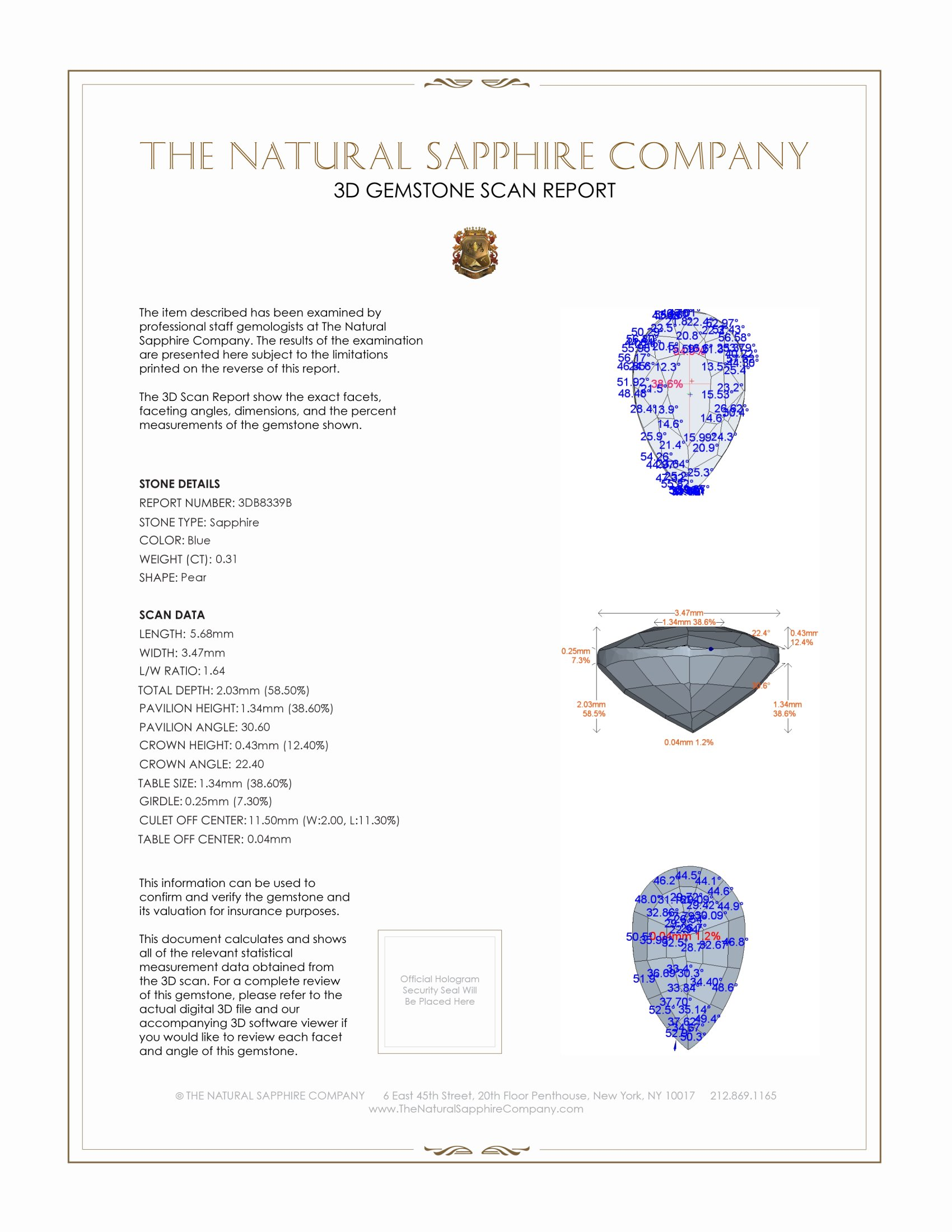 Natural Untreated Blue Sapphire B8339 Certification 2