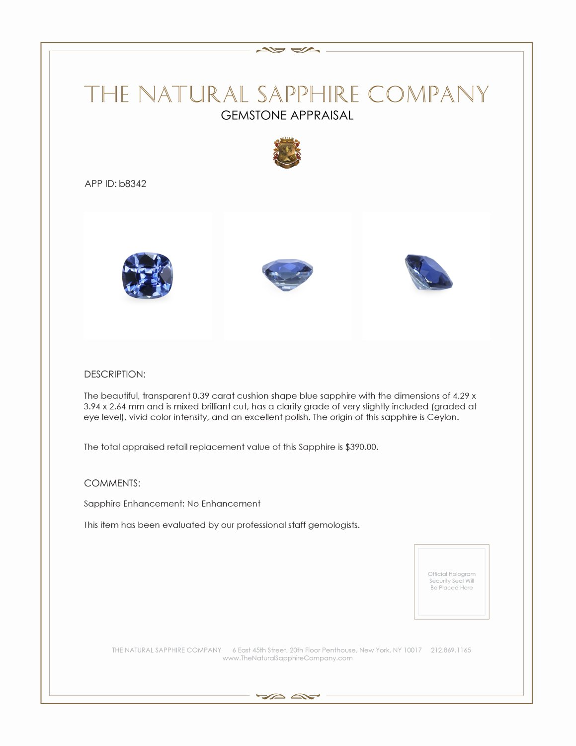Natural Untreated Blue Sapphire B8342 Certification 3