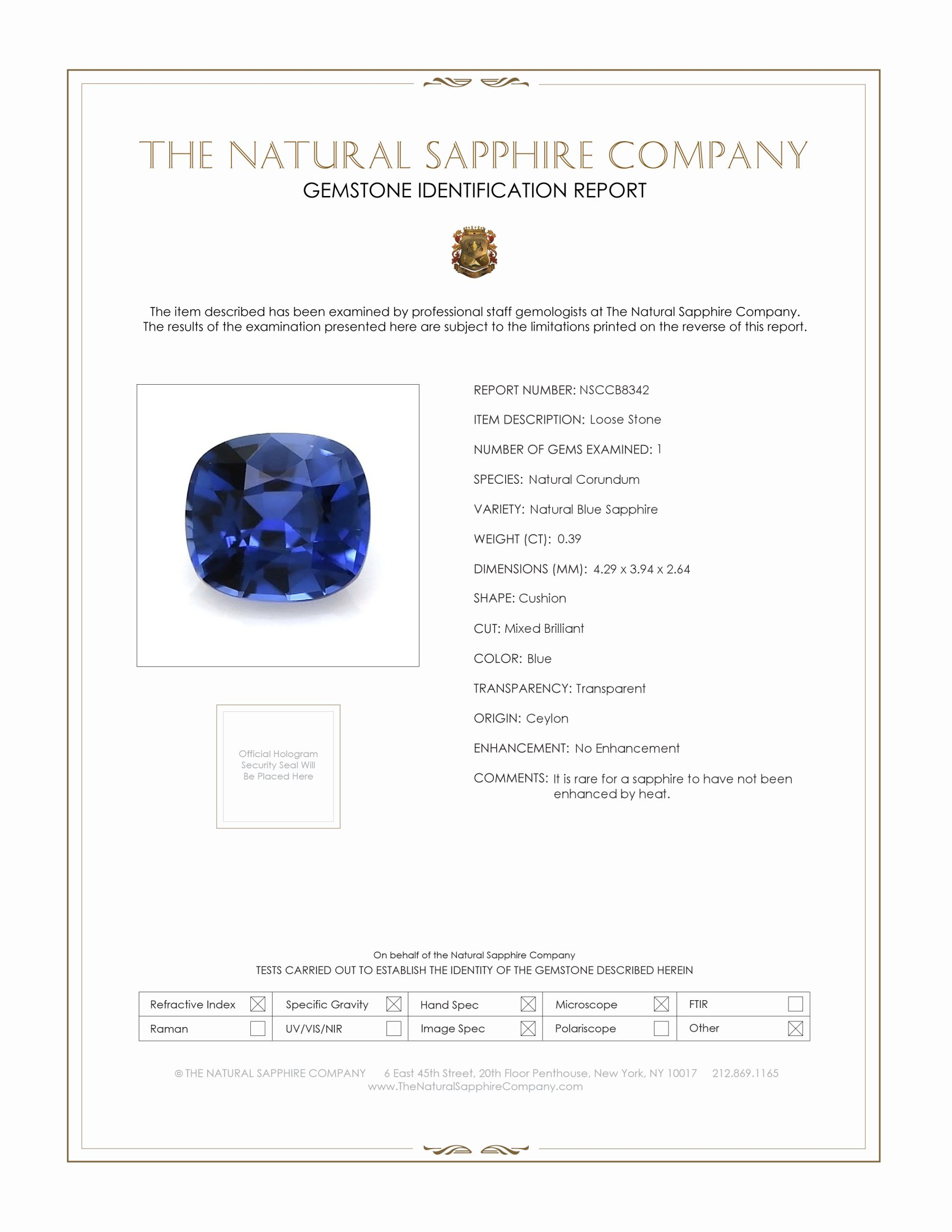 Natural Untreated Blue Sapphire B8342 Certification