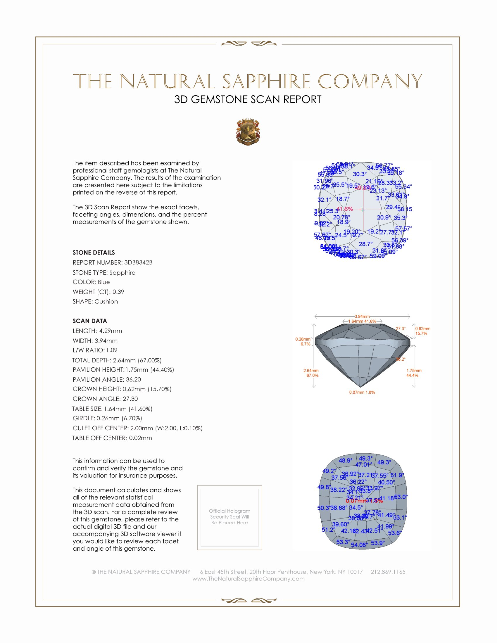 Natural Untreated Blue Sapphire B8342 Certification 2