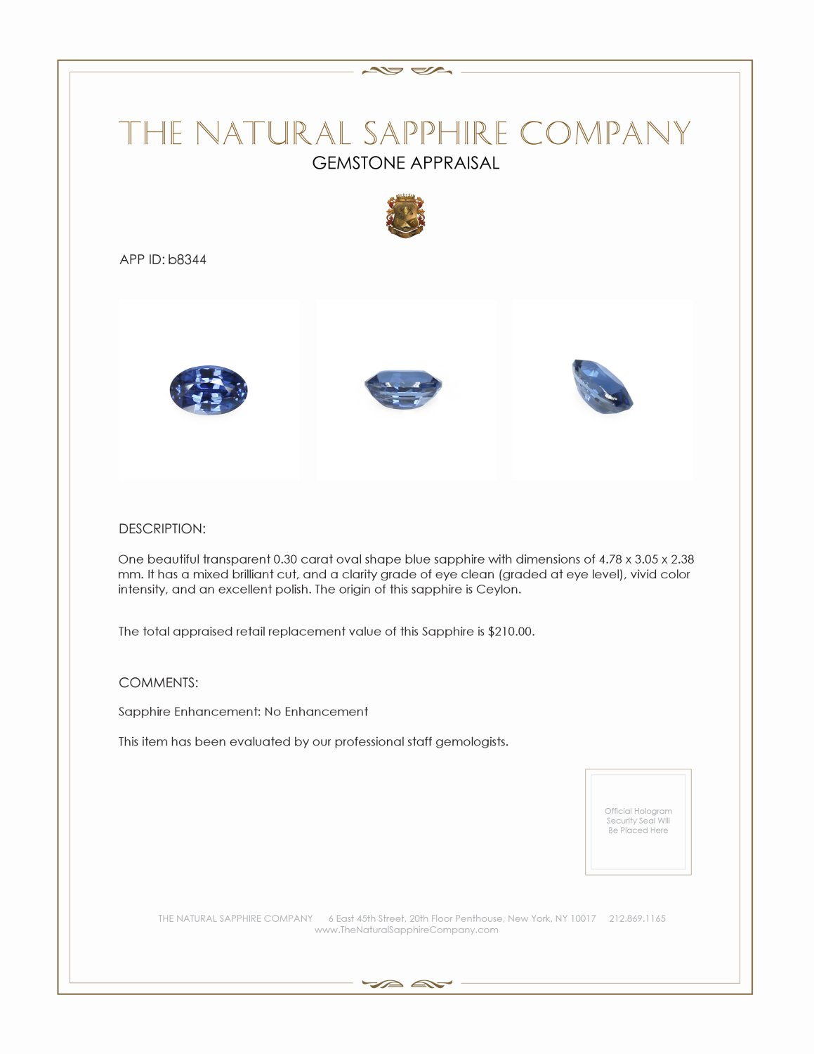 Natural Untreated Blue Sapphire B8344 Certification 3