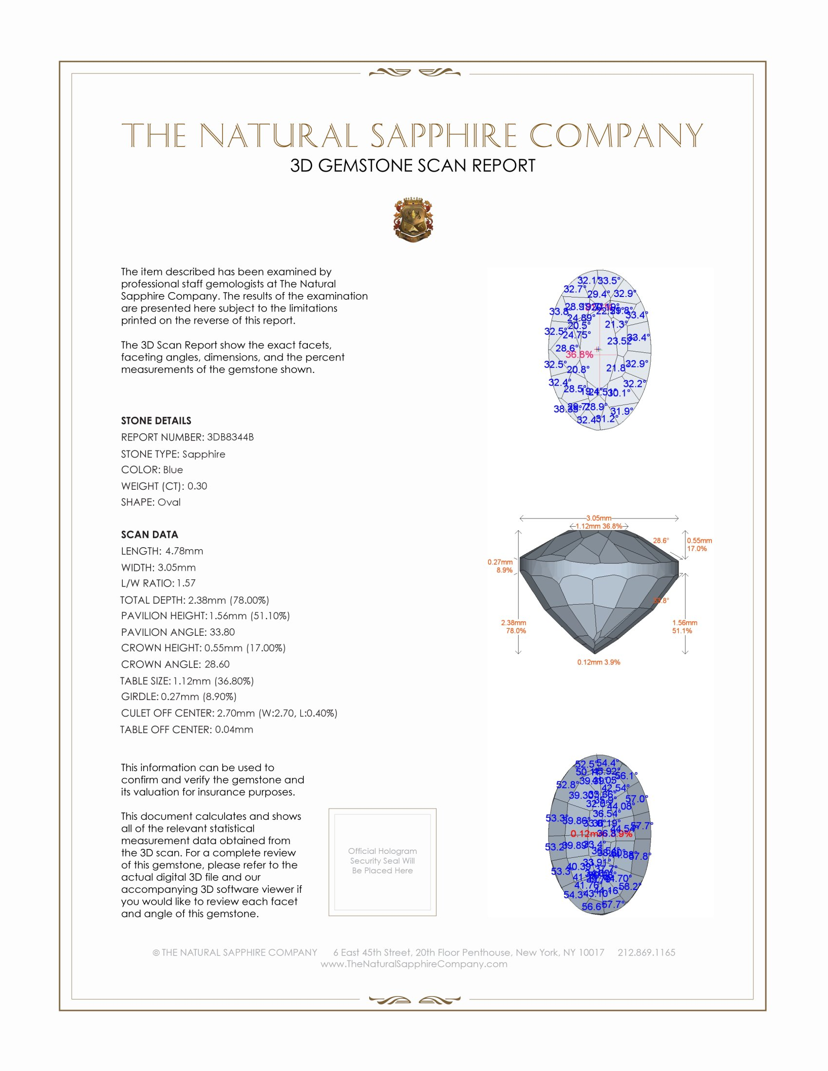 Natural Untreated Blue Sapphire B8344 Certification 2