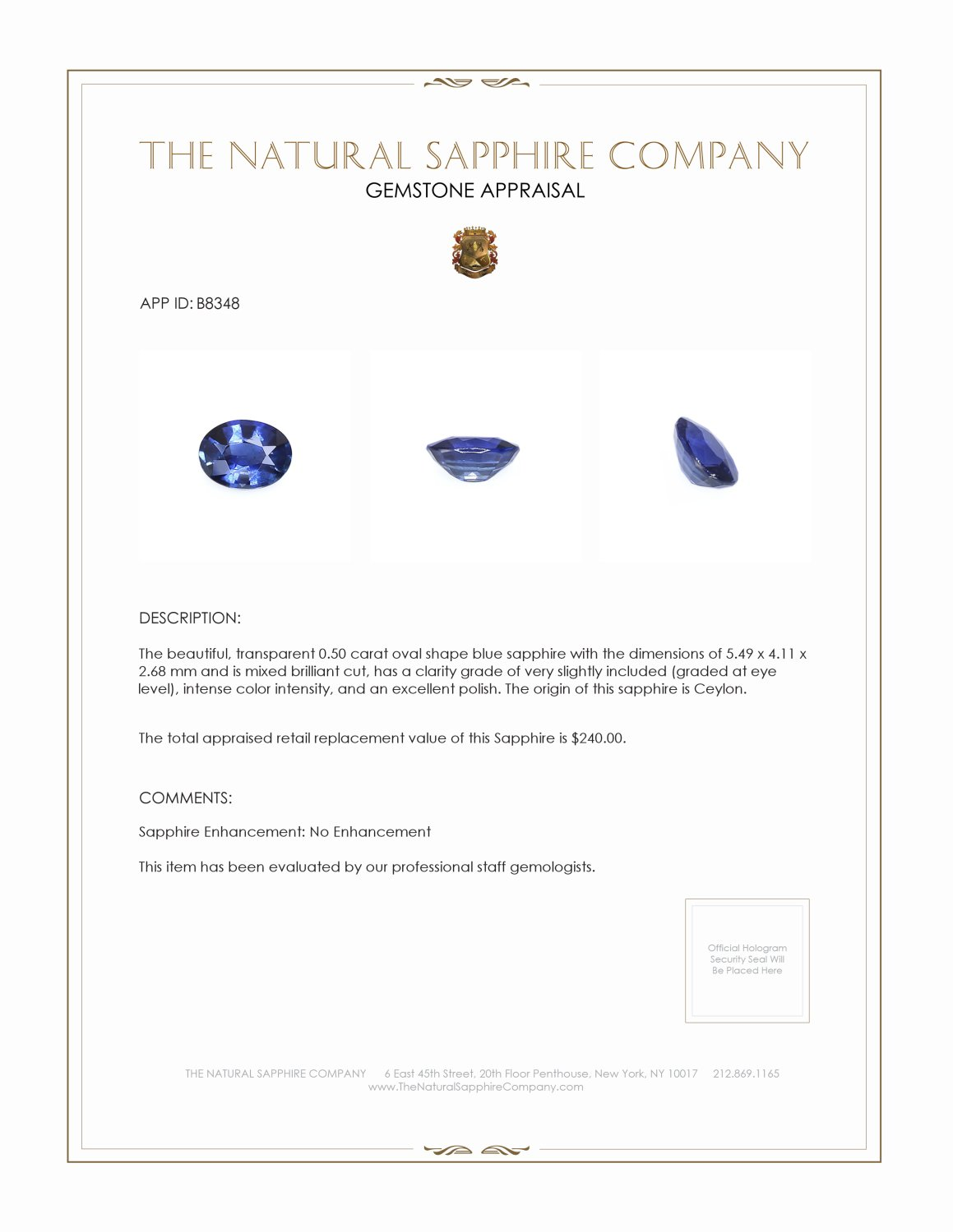 Natural Untreated Blue Sapphire B8348 Certification 3