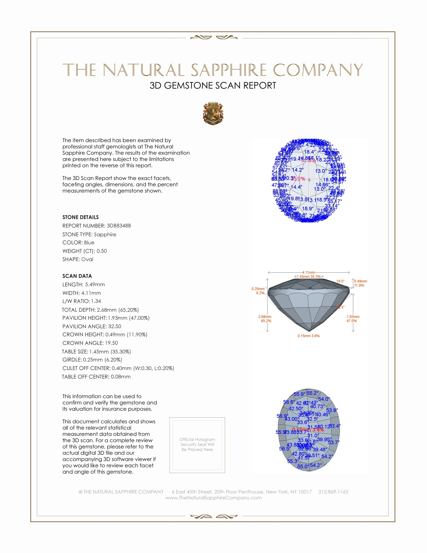Natural Untreated Blue Sapphire B8348 Certification 2