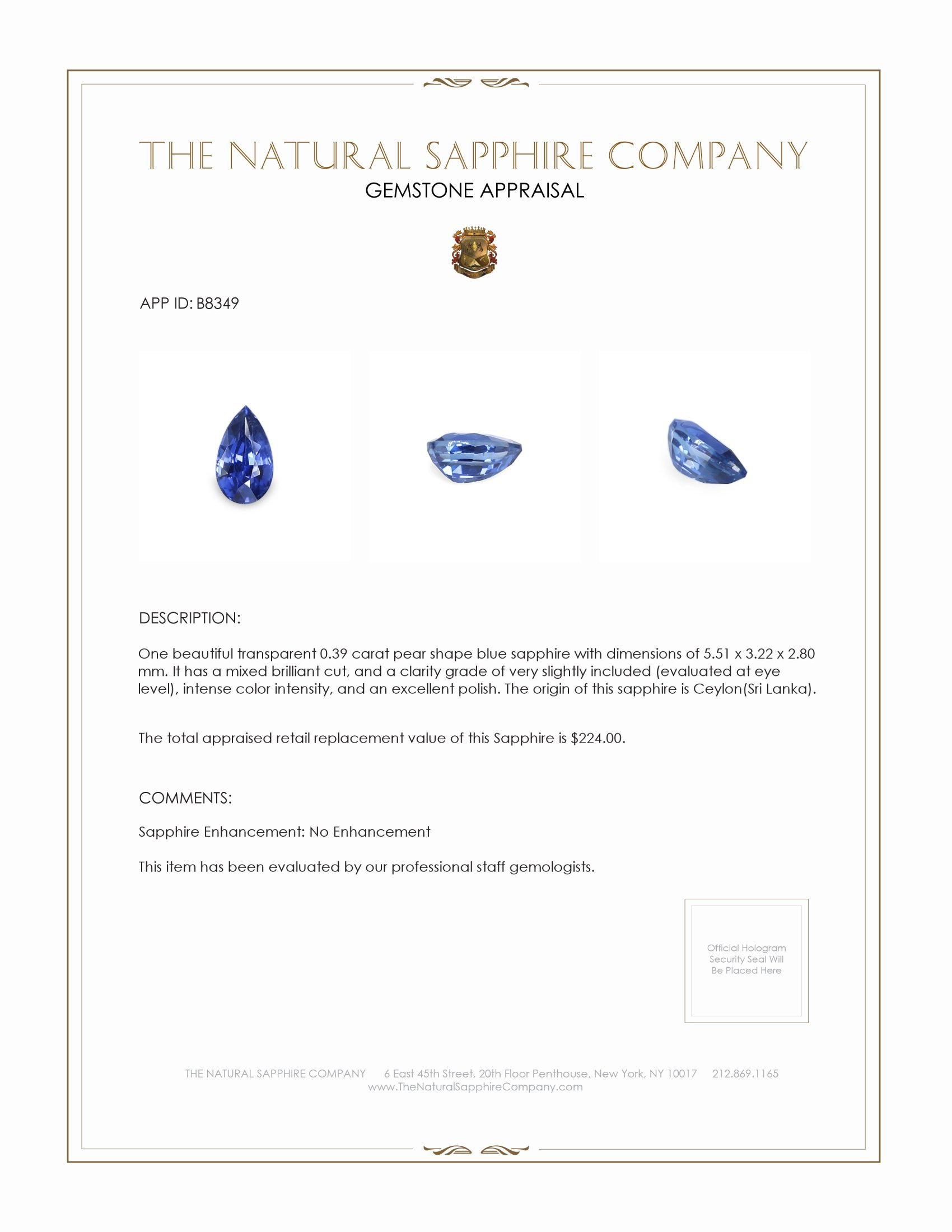 Natural Untreated Blue Sapphire B8349 Certification