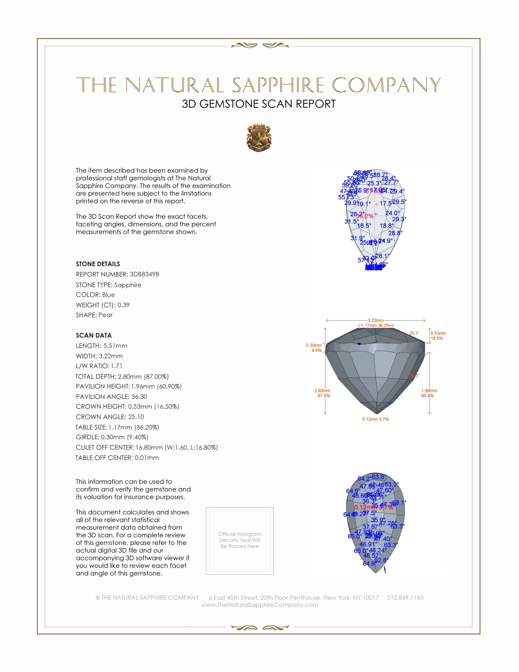 Natural Untreated Blue Sapphire B8349 Certification 2