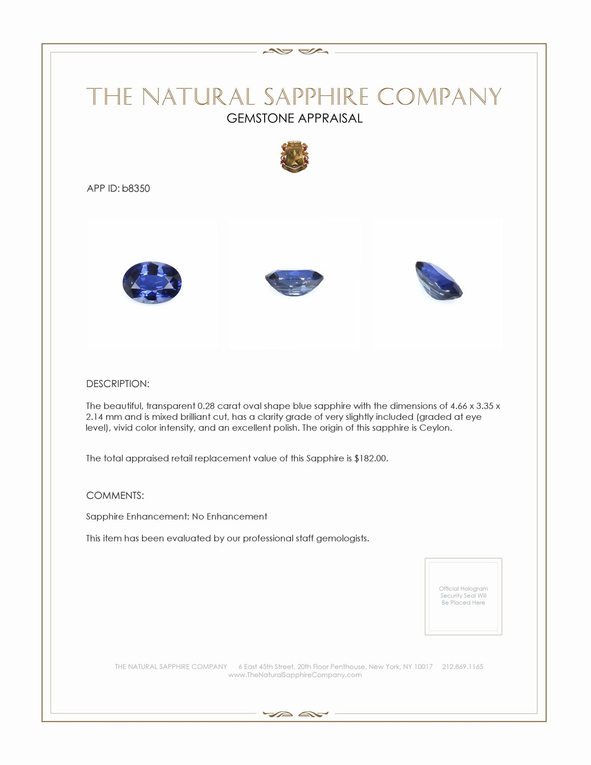 Natural Untreated Blue Sapphire B8350 Certification 3