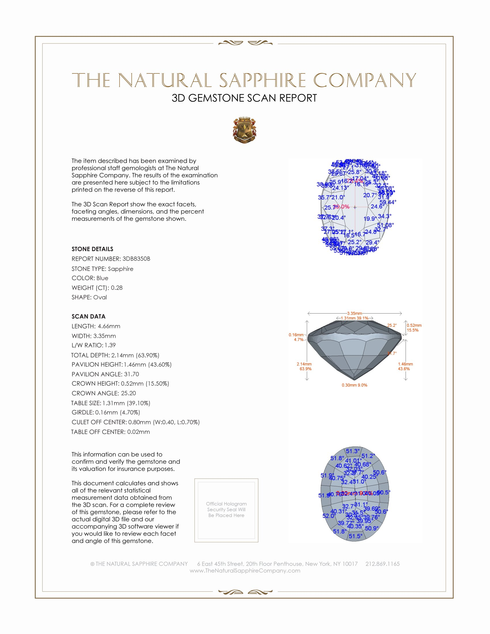 Natural Untreated Blue Sapphire B8350 Certification 2