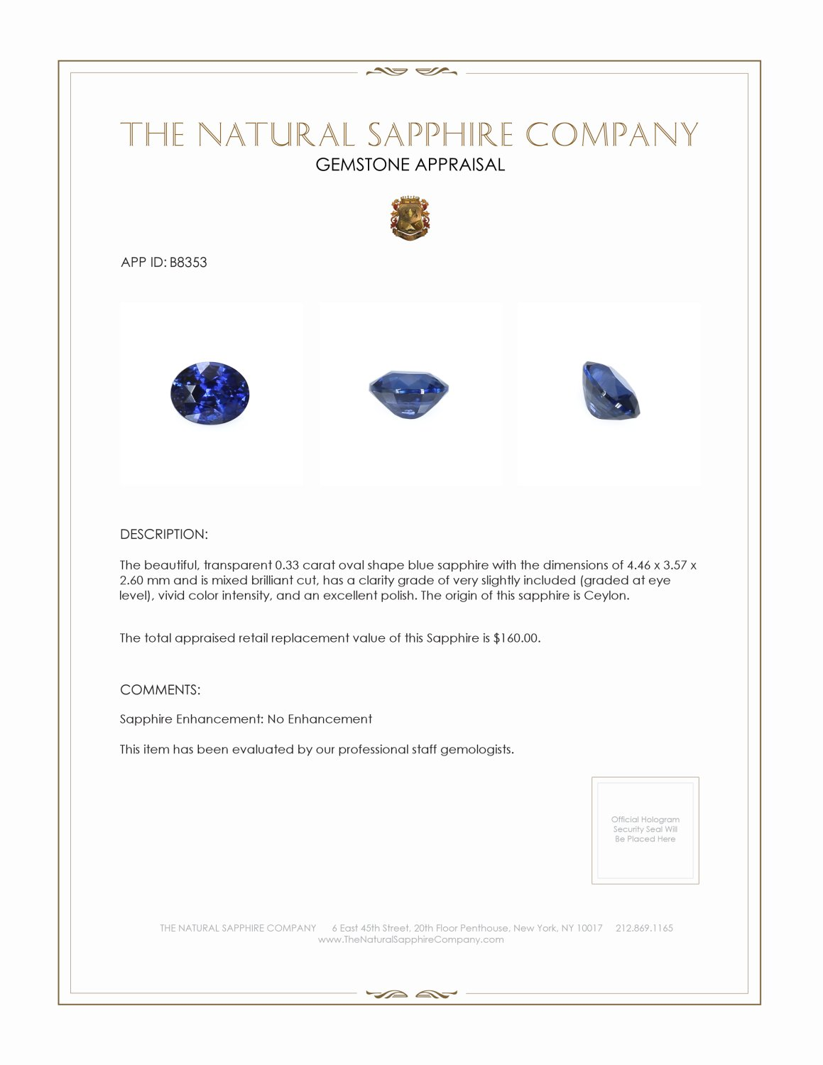 Natural Untreated Blue Sapphire B8353 Certification 3