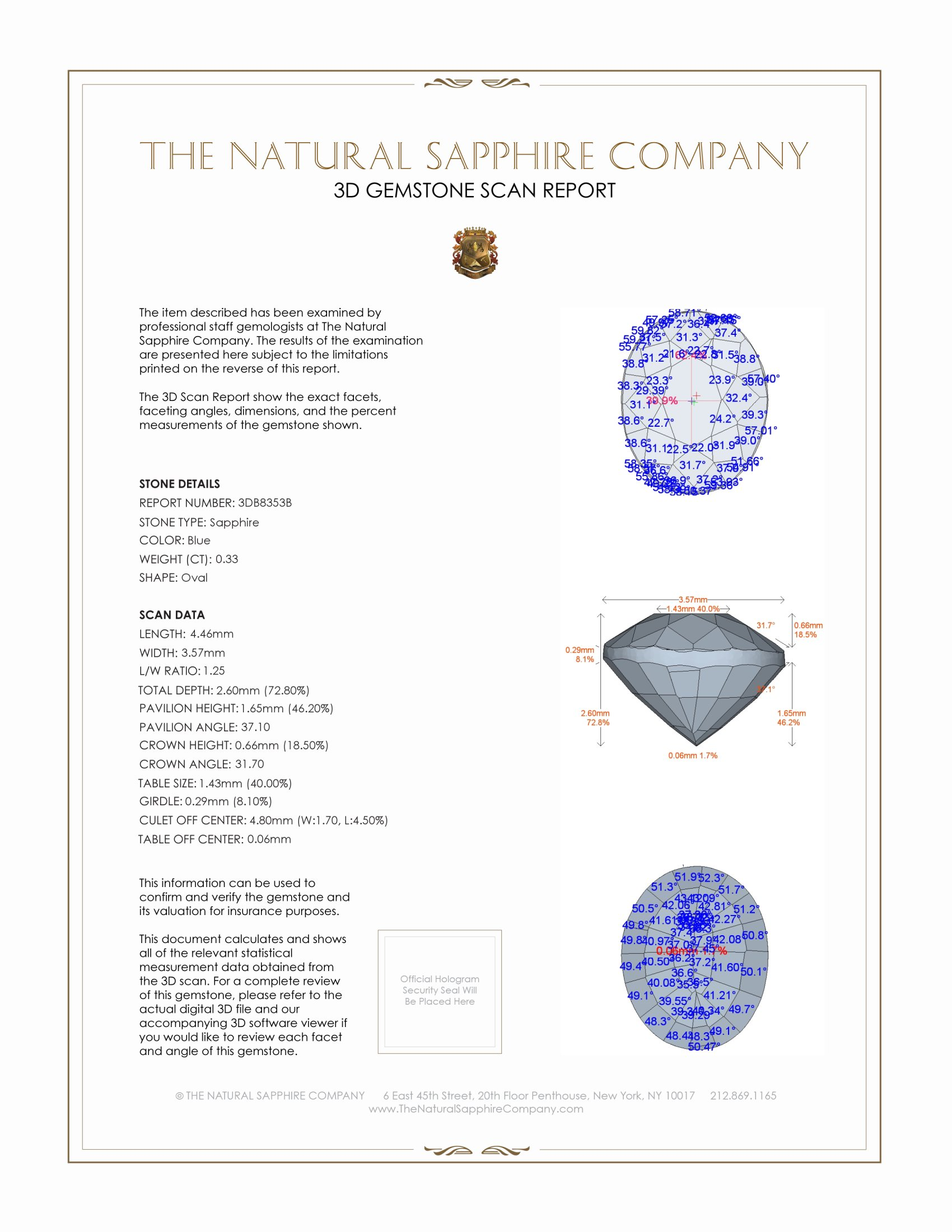 Natural Untreated Blue Sapphire B8353 Certification 2
