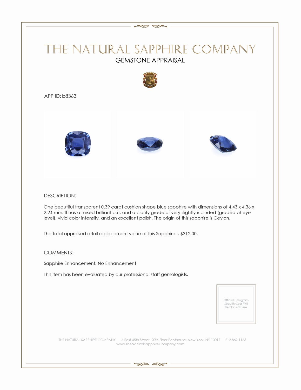Natural Untreated Blue Sapphire B8363 Certification 3