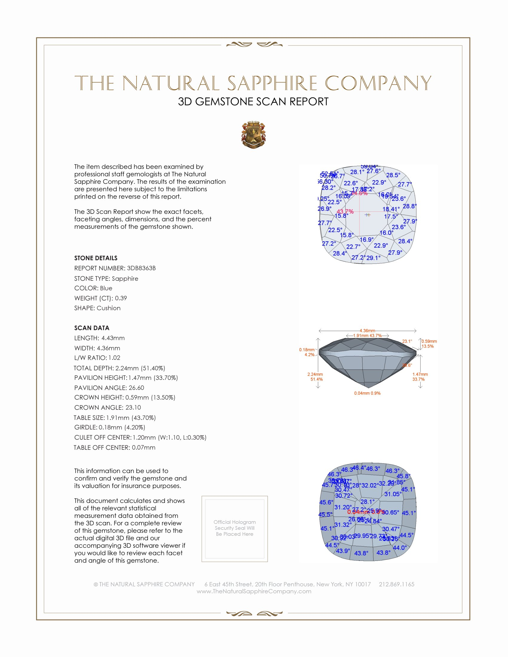 Natural Untreated Blue Sapphire B8363 Certification 2