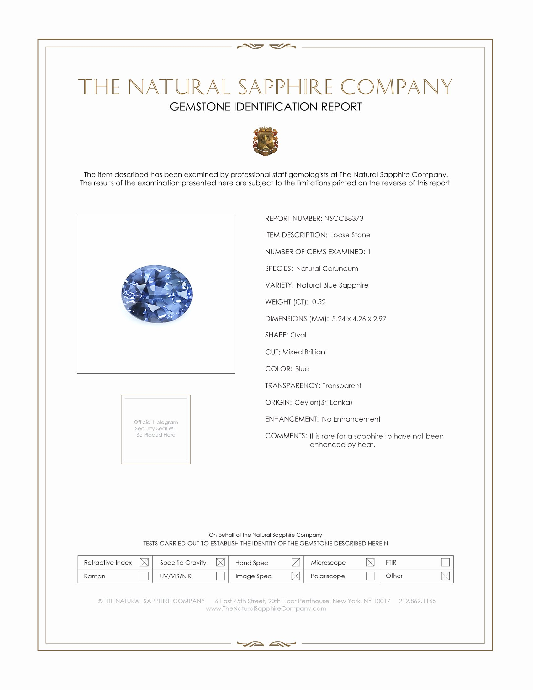Natural Untreated Blue Sapphire B8373 Certification