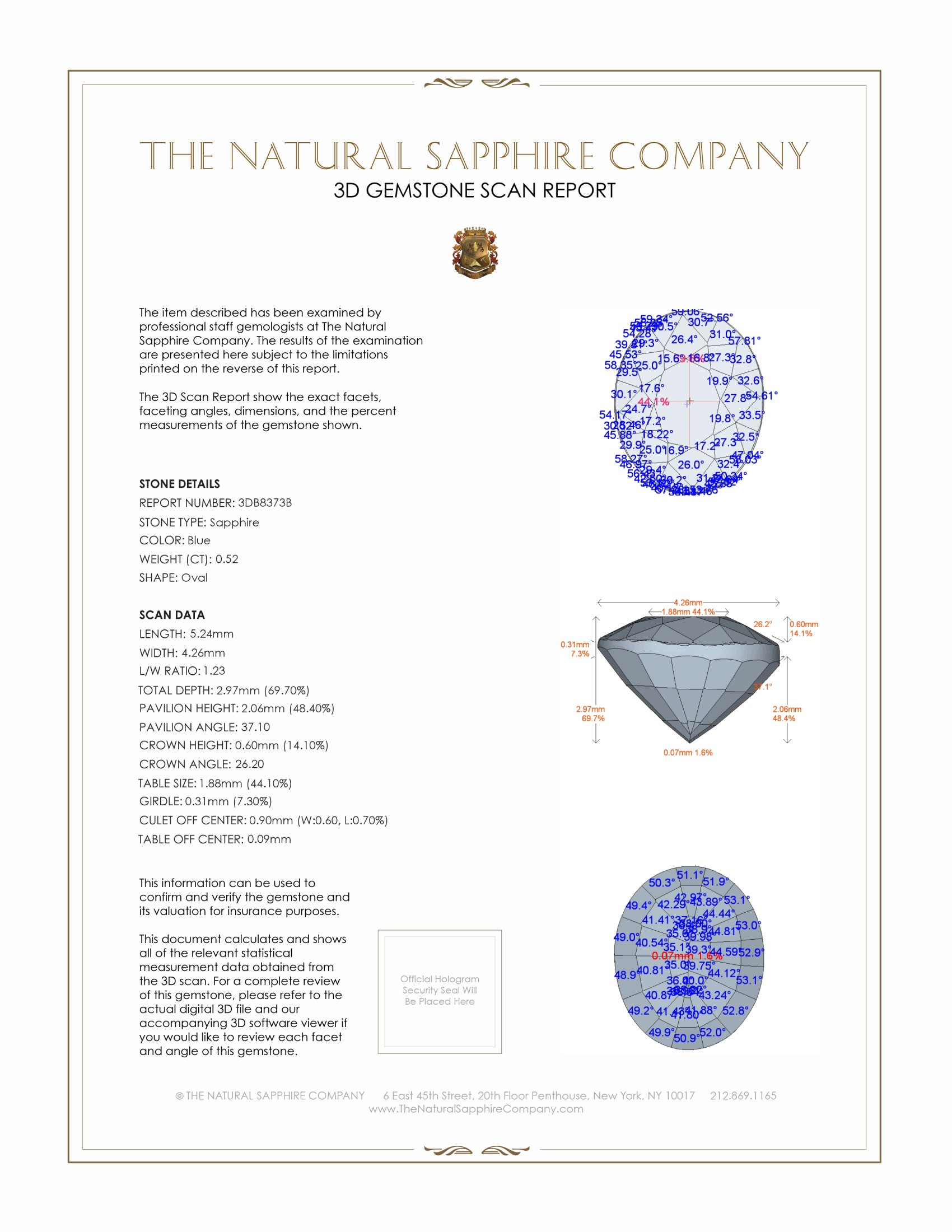 Natural Untreated Blue Sapphire B8373 Certification 2