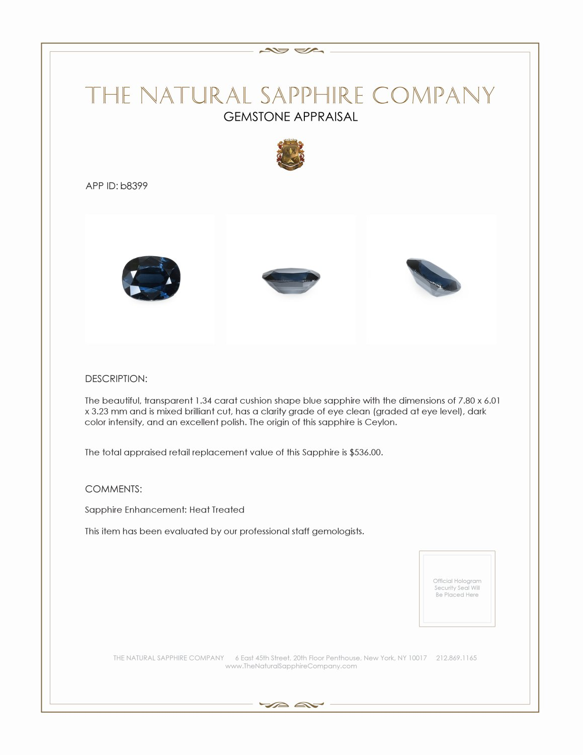 Natural Blue Sapphire B8399 Certification 3