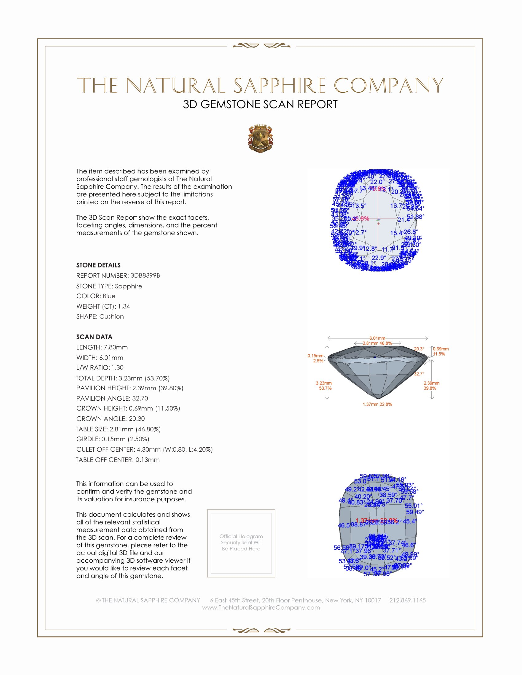 Natural Blue Sapphire B8399 Certification 2