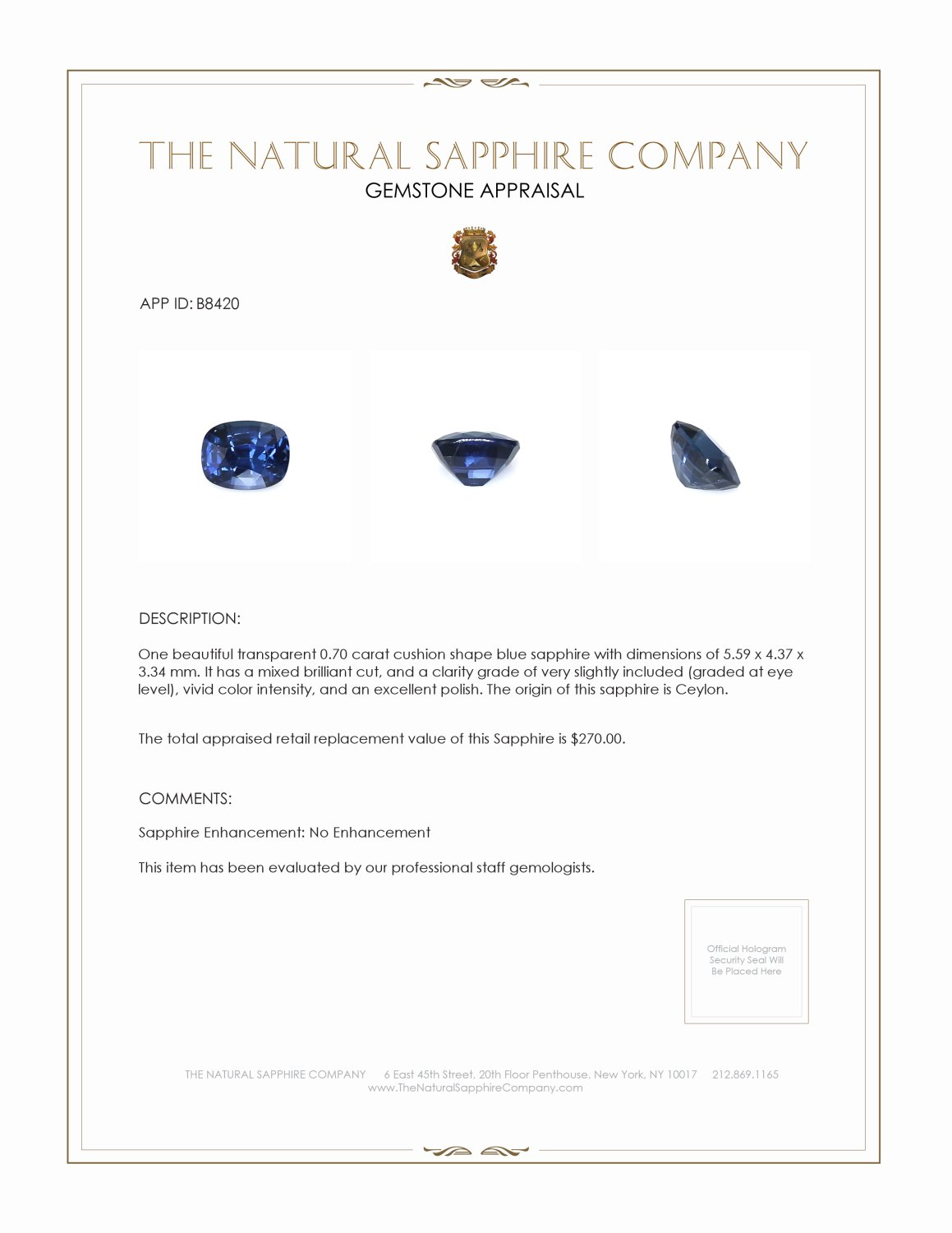 Natural Untreated Blue Sapphire B8420 Certification 3