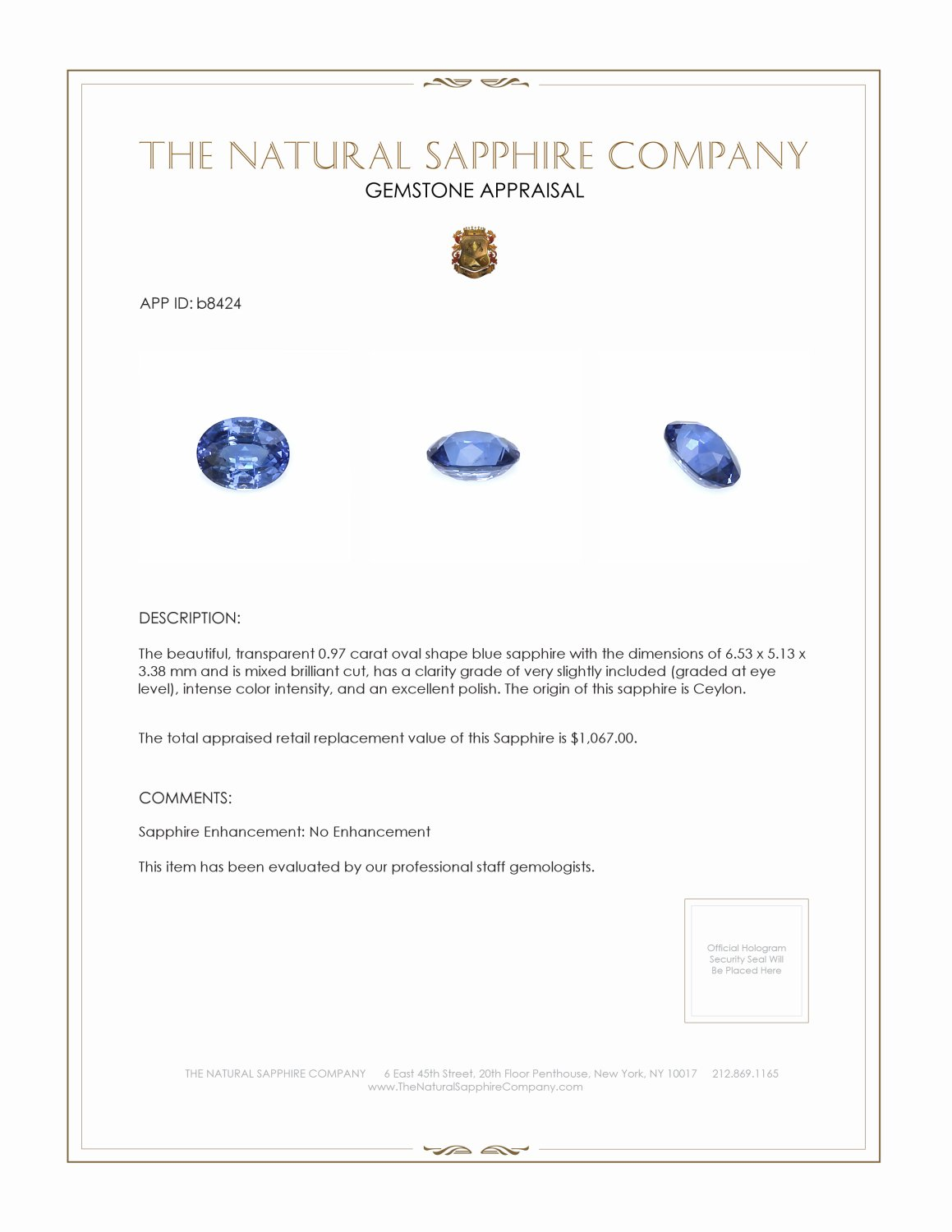 Natural Untreated Blue Sapphire B8424 Certification 3