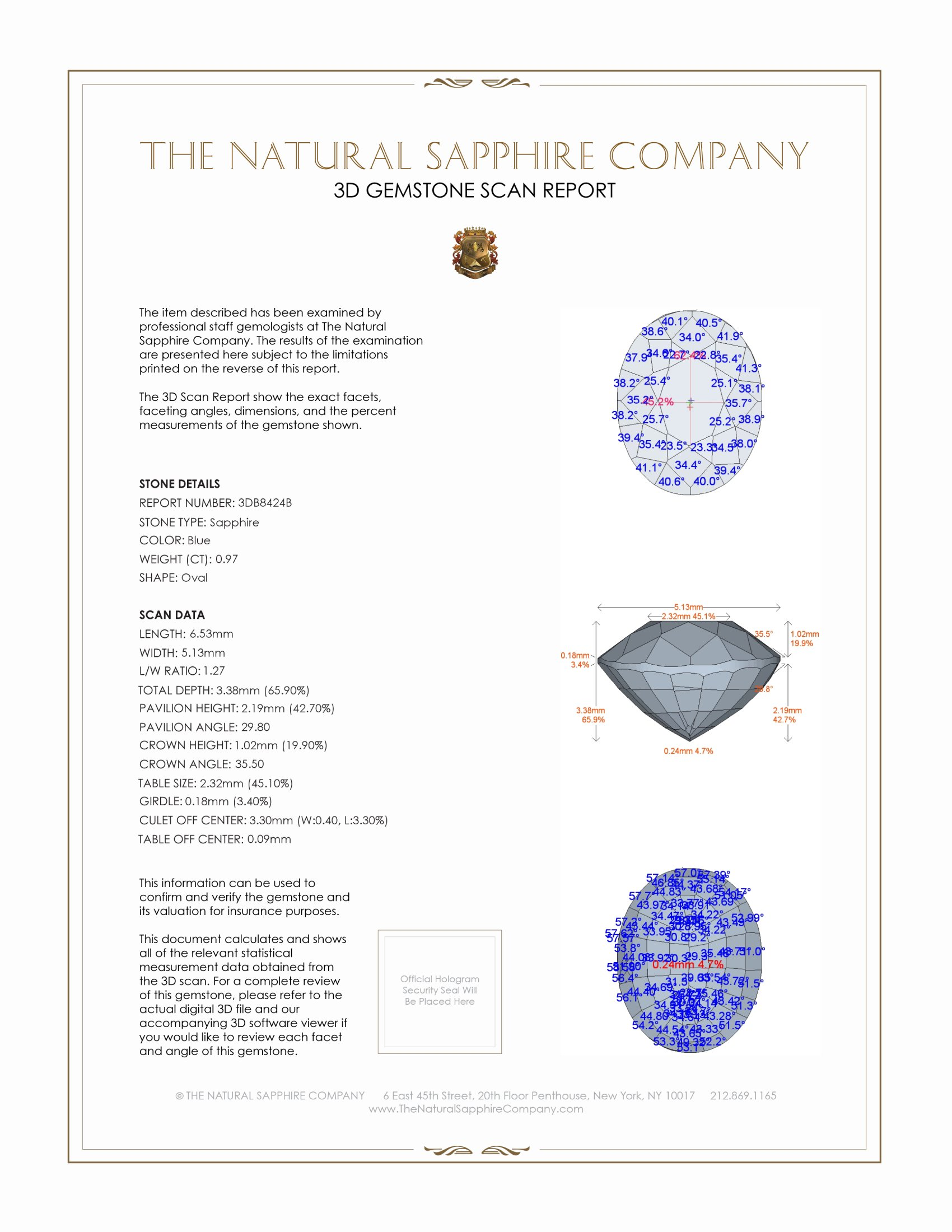 Natural Untreated Blue Sapphire B8424 Certification 2