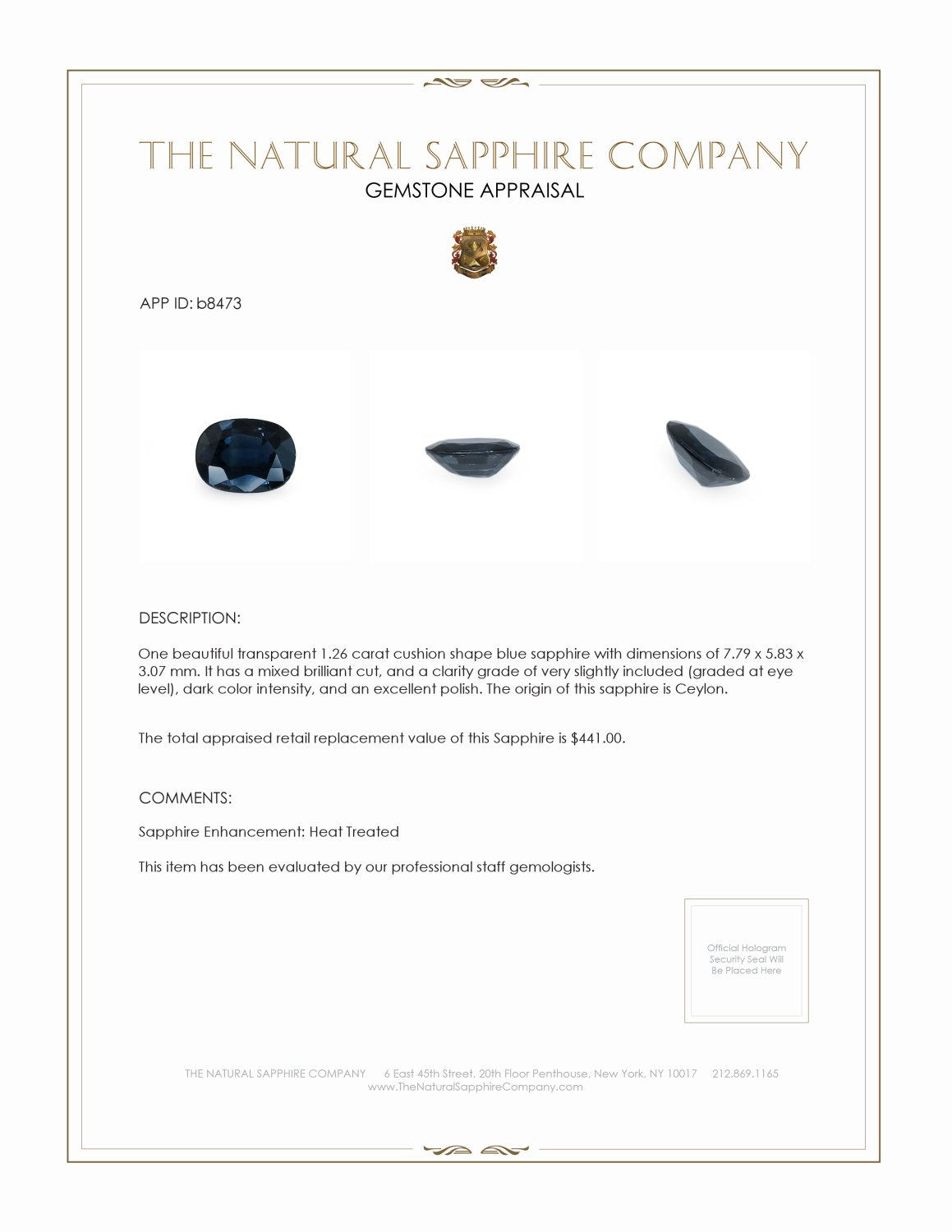 Natural Blue Sapphire B8473 Certification 3