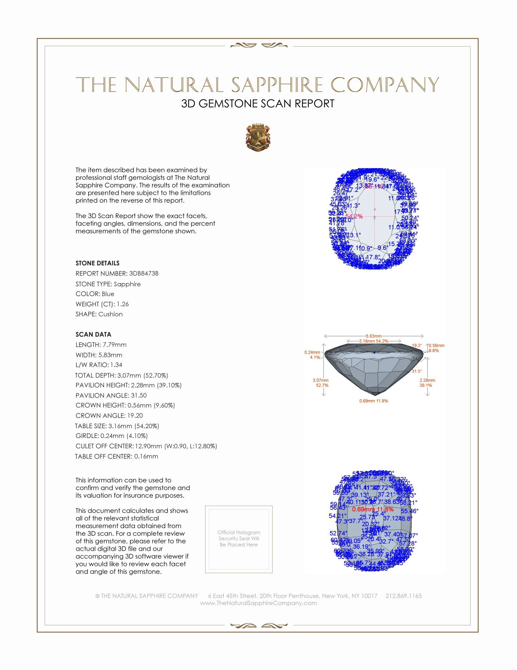 Natural Blue Sapphire B8473 Certification 2