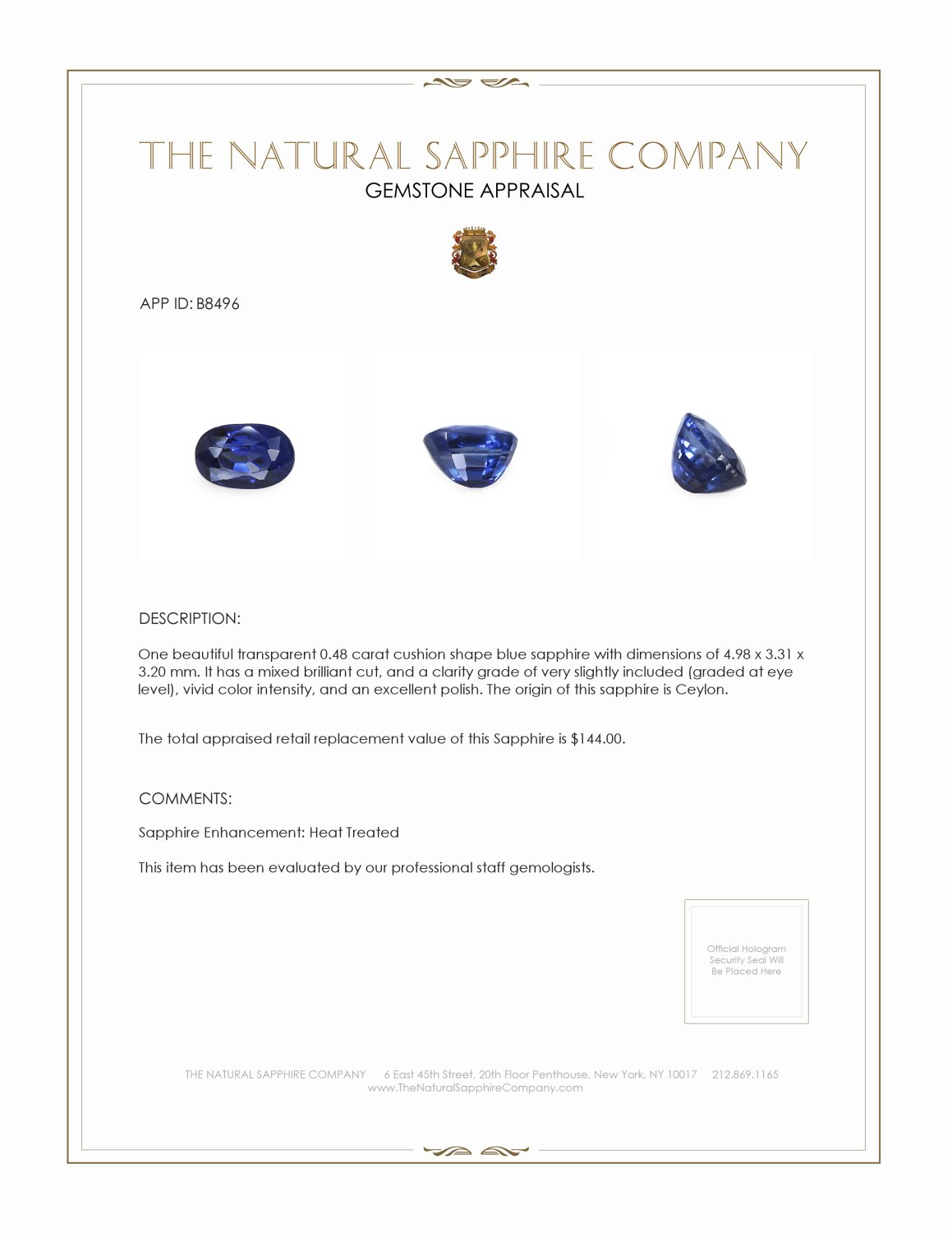 Natural Blue Sapphire B8496 Certification 3