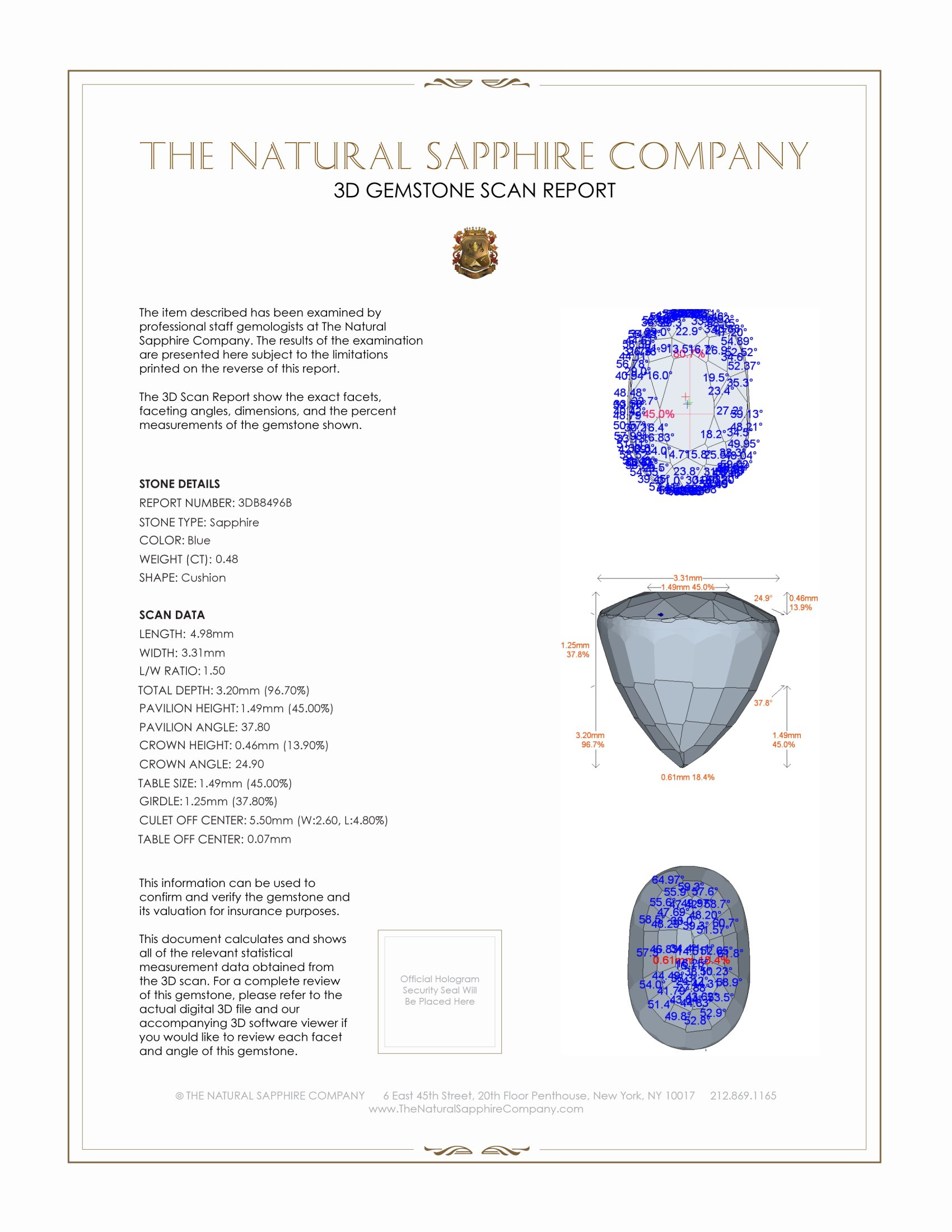 Natural Blue Sapphire B8496 Certification 2