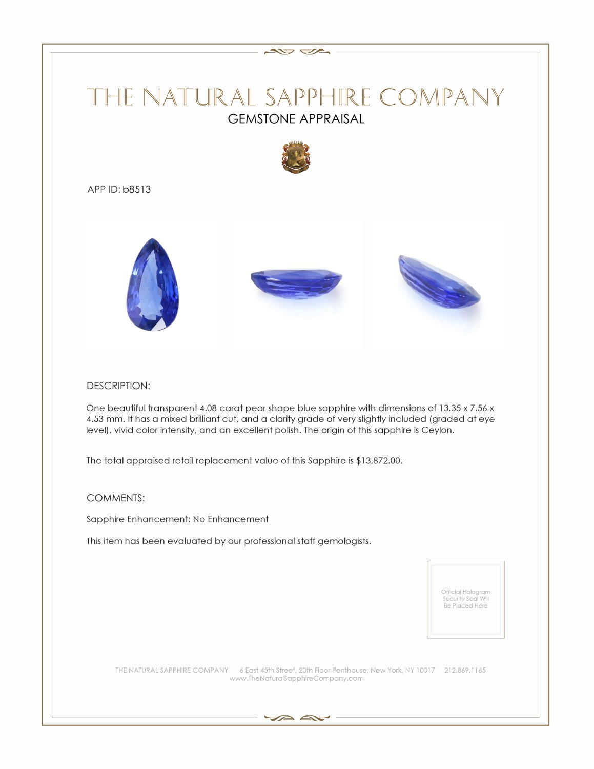 Natural Untreated Blue Sapphire B8513 Certification 4
