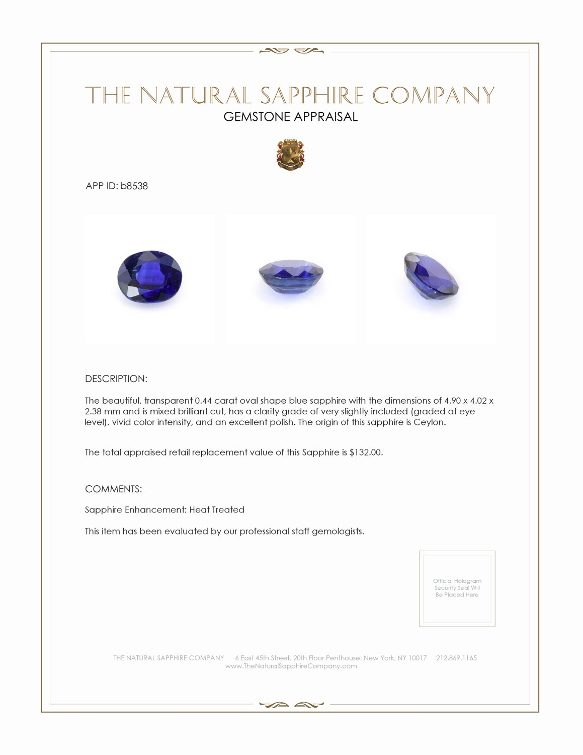 Natural Blue Sapphire B8538 Certification 3